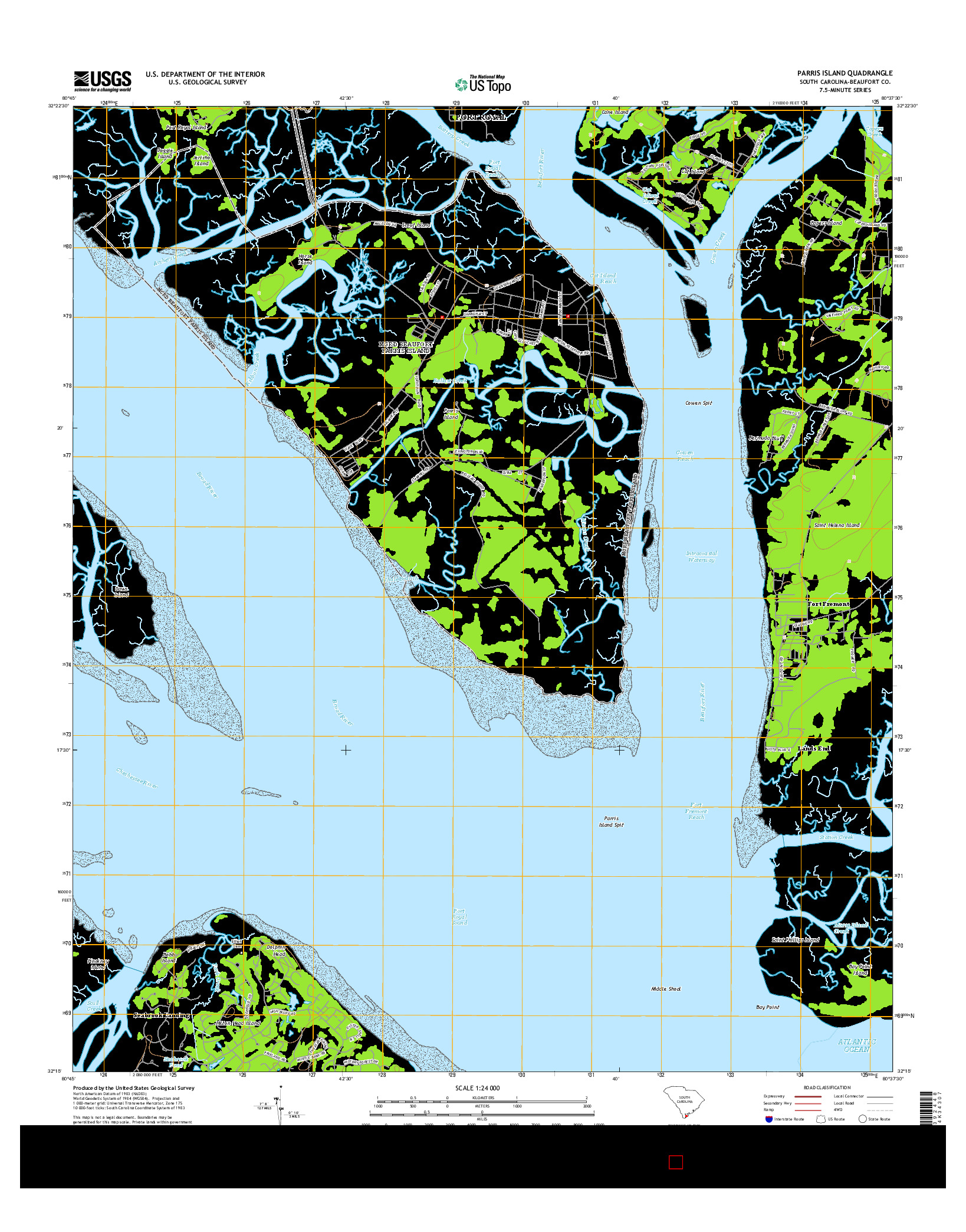USGS US TOPO 7.5-MINUTE MAP FOR PARRIS ISLAND, SC 2014