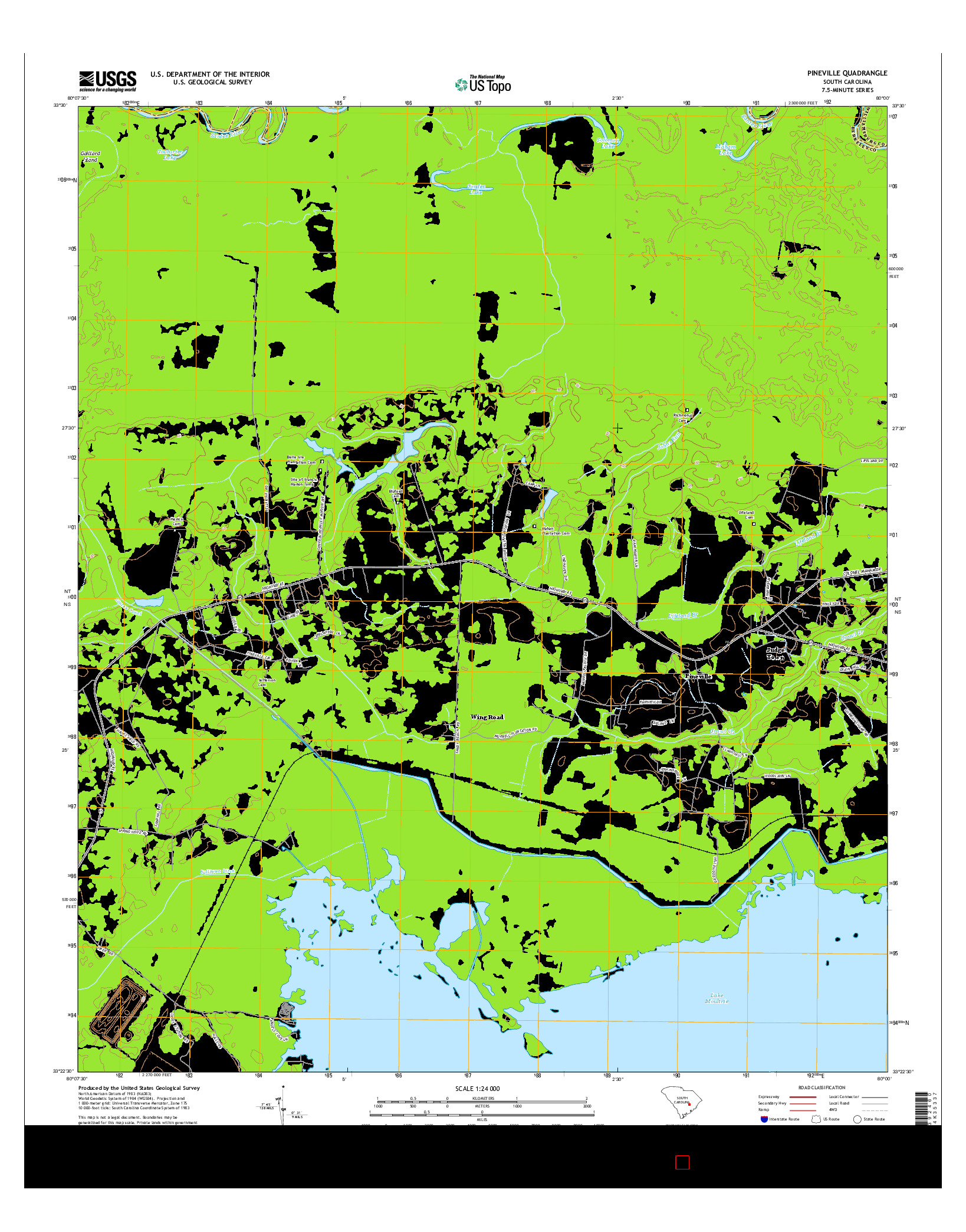 USGS US TOPO 7.5-MINUTE MAP FOR PINEVILLE, SC 2014