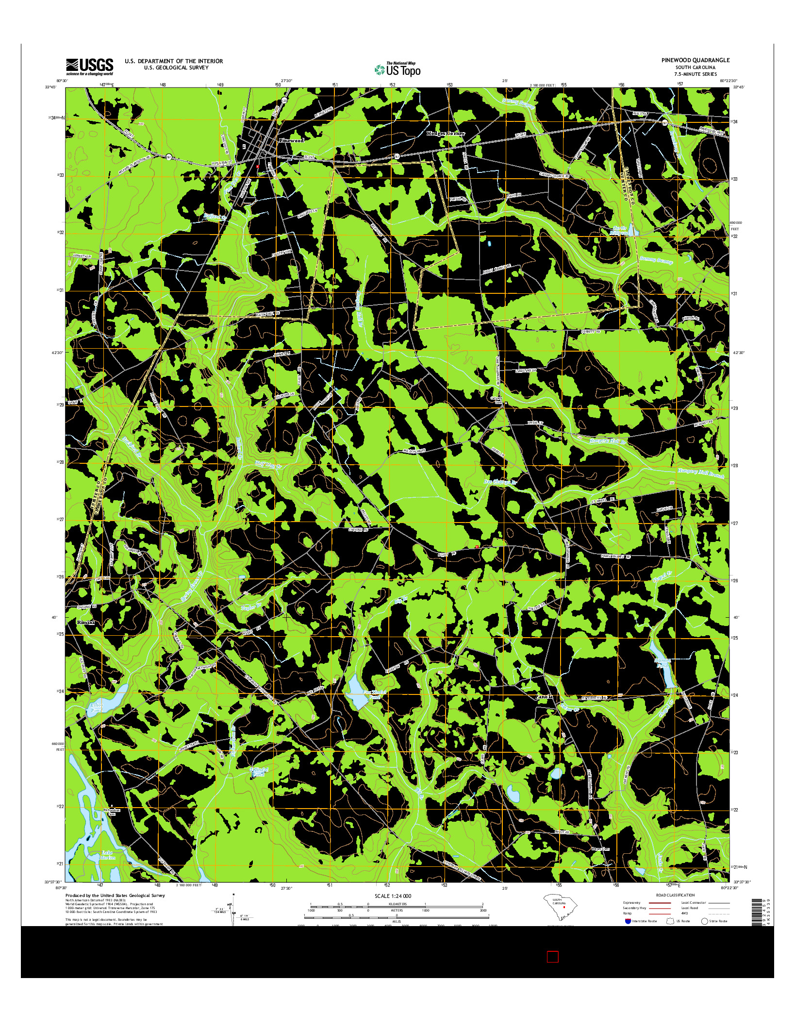 USGS US TOPO 7.5-MINUTE MAP FOR PINEWOOD, SC 2014