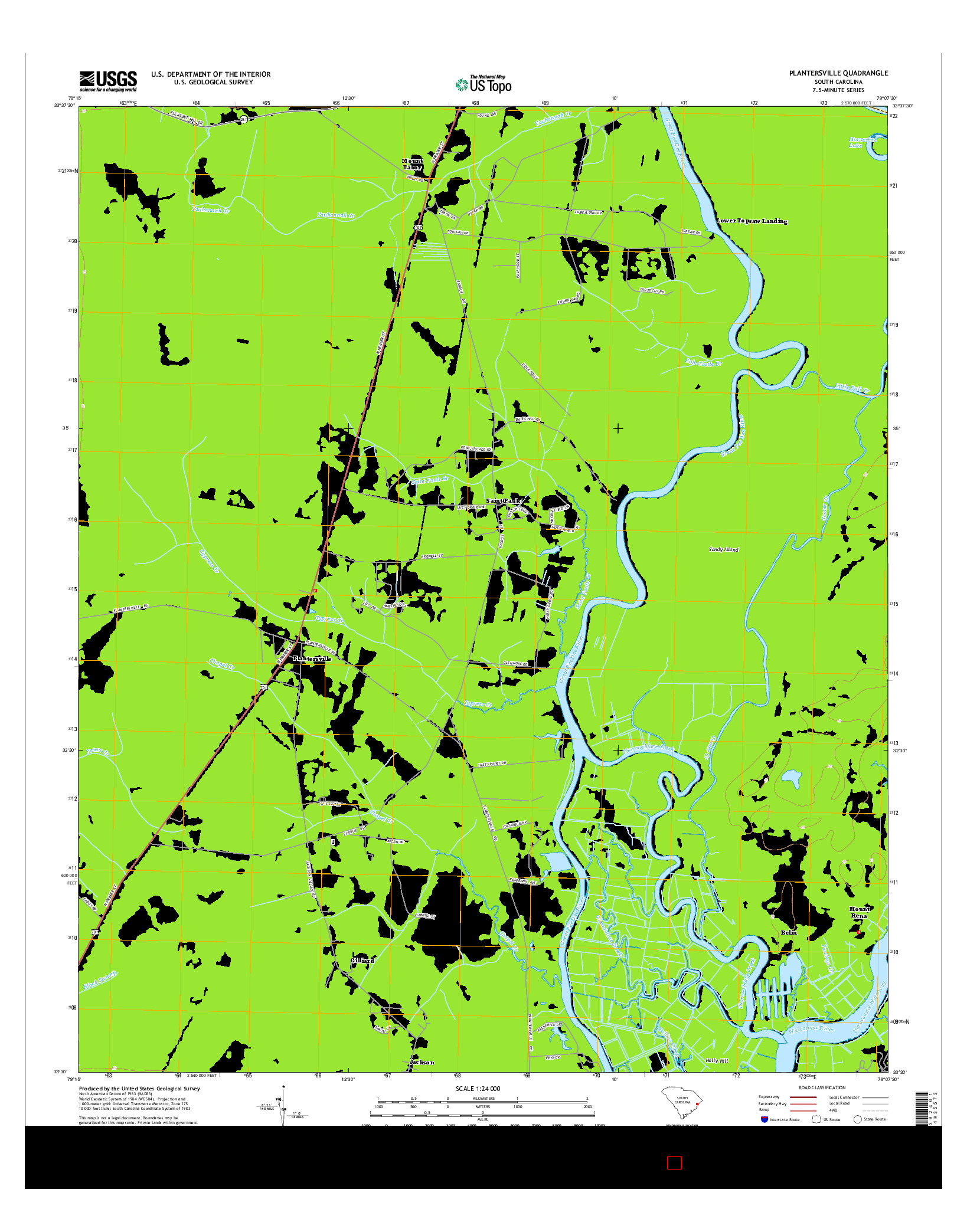 USGS US TOPO 7.5-MINUTE MAP FOR PLANTERSVILLE, SC 2014