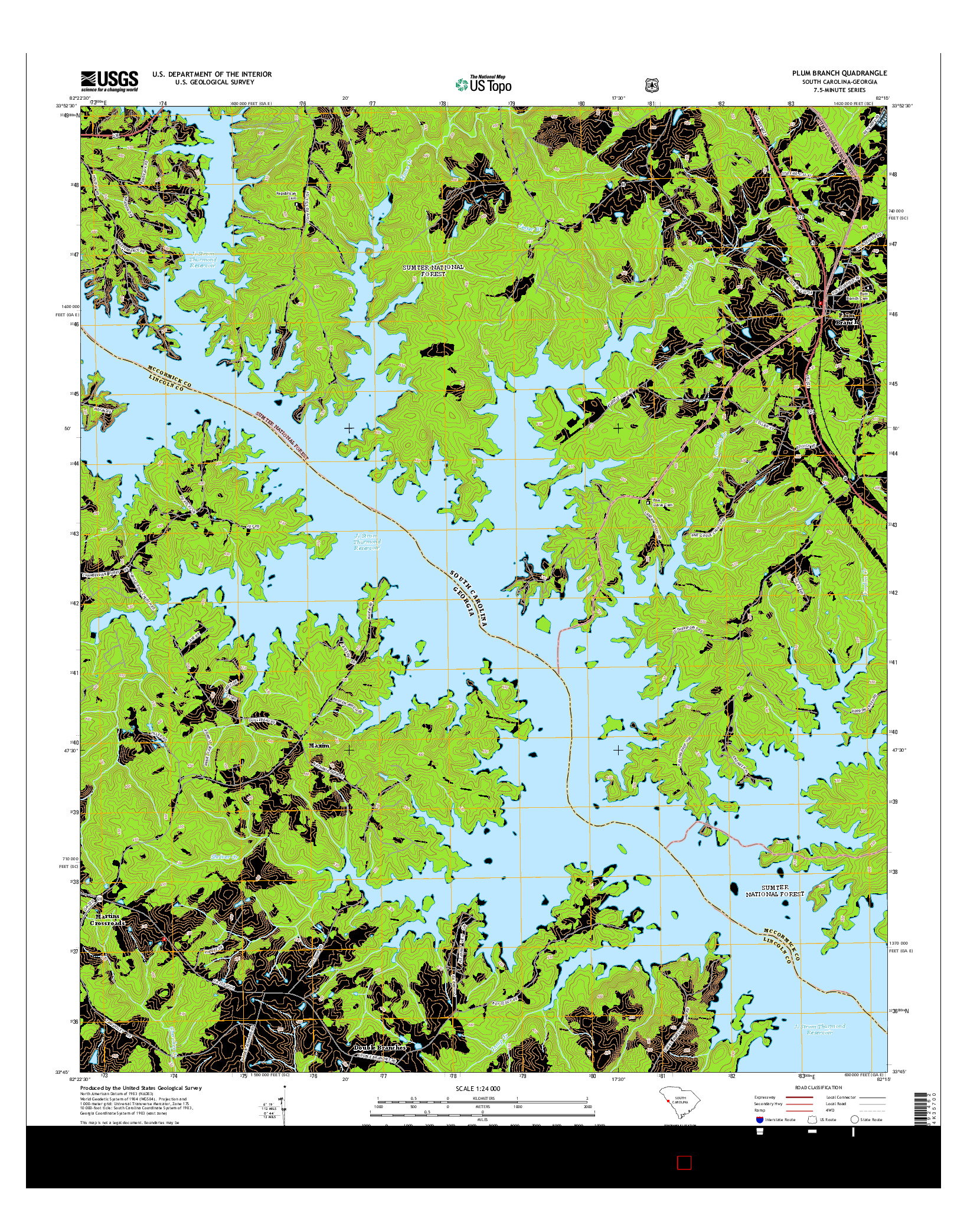 USGS US TOPO 7.5-MINUTE MAP FOR PLUM BRANCH, SC-GA 2014