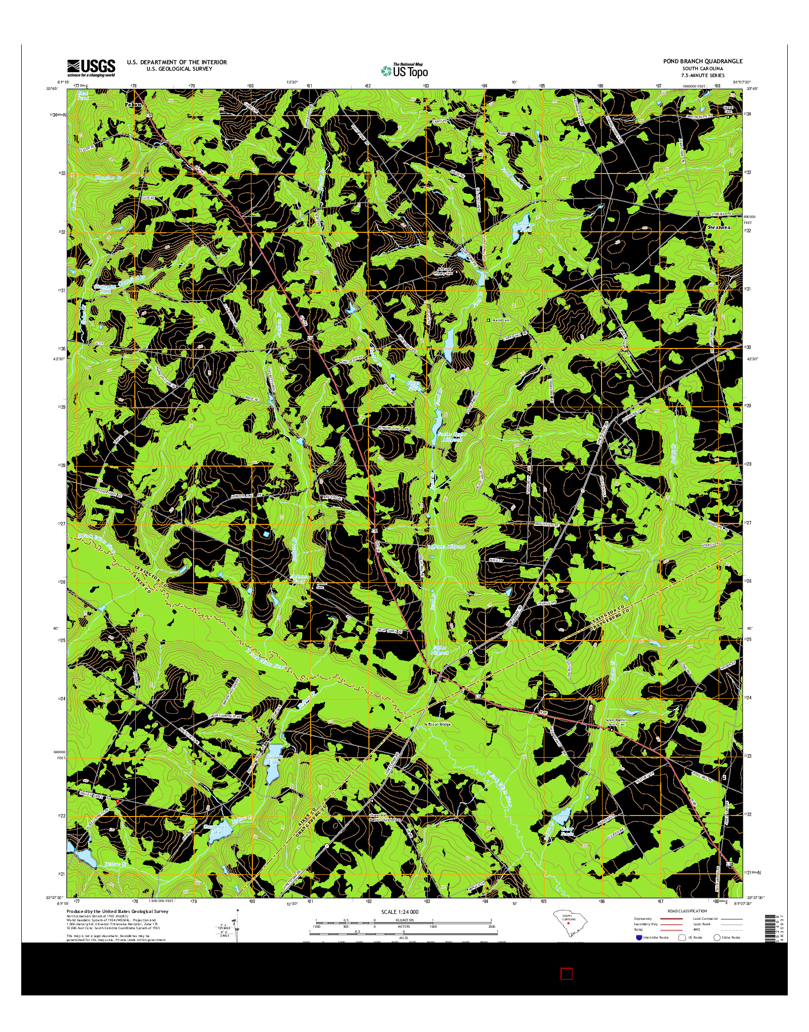 USGS US TOPO 7.5-MINUTE MAP FOR POND BRANCH, SC 2014
