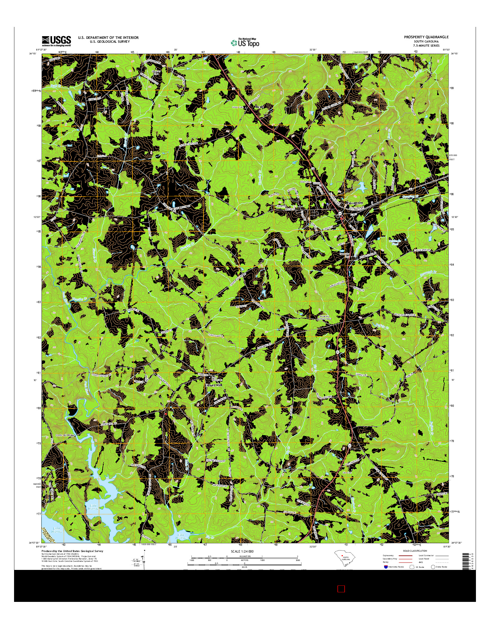 USGS US TOPO 7.5-MINUTE MAP FOR PROSPERITY, SC 2014