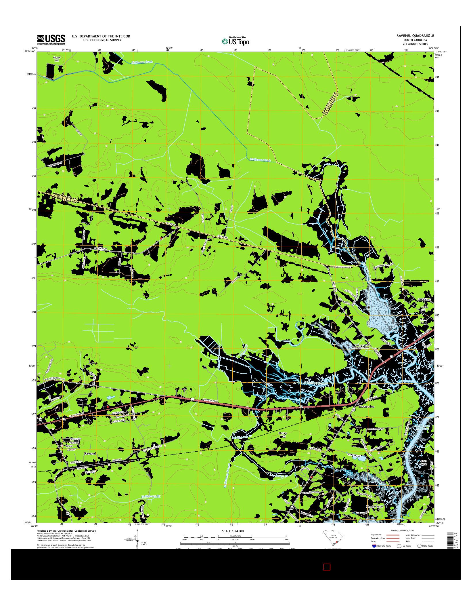 USGS US TOPO 7.5-MINUTE MAP FOR RAVENEL, SC 2014