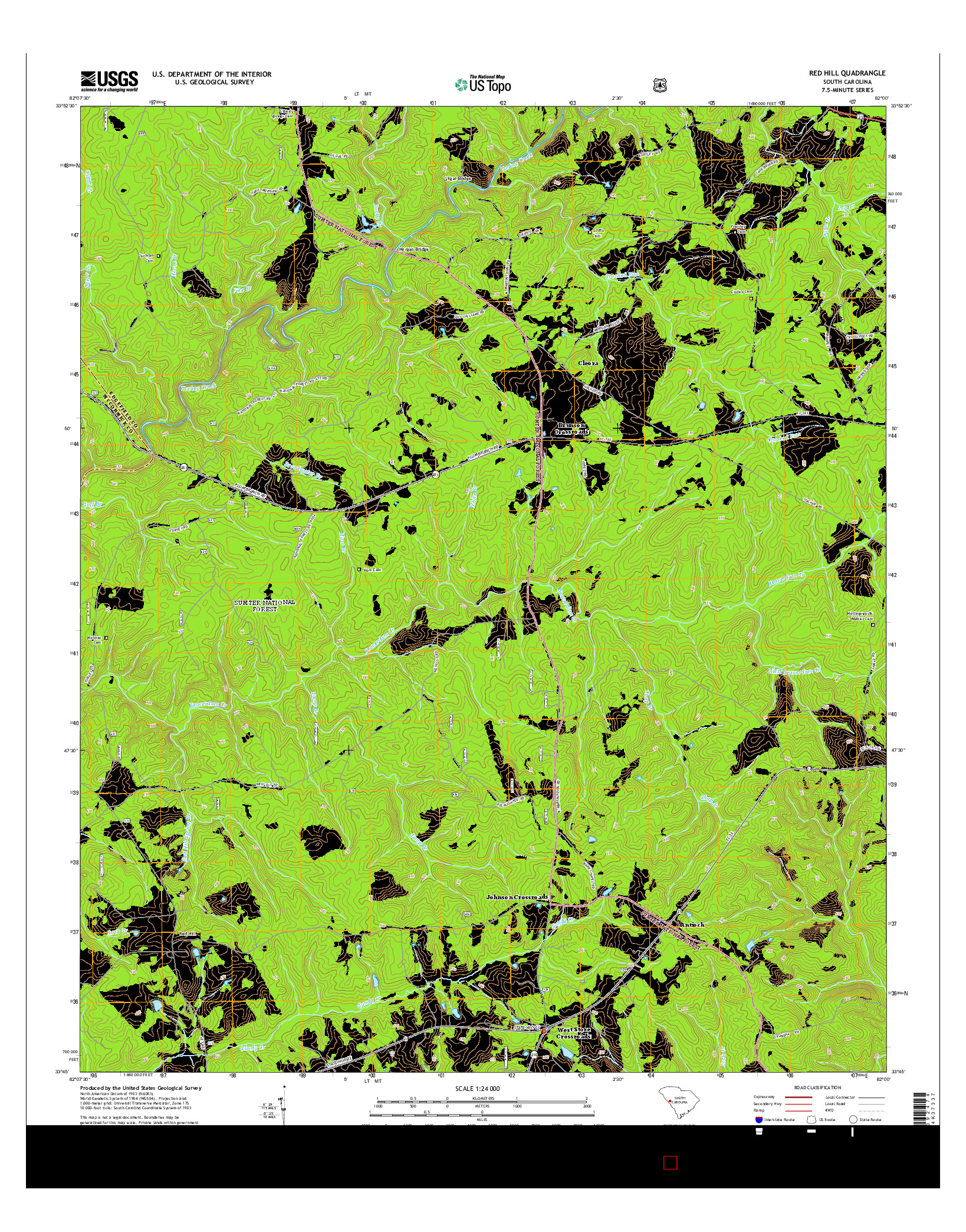 USGS US TOPO 7.5-MINUTE MAP FOR RED HILL, SC 2014