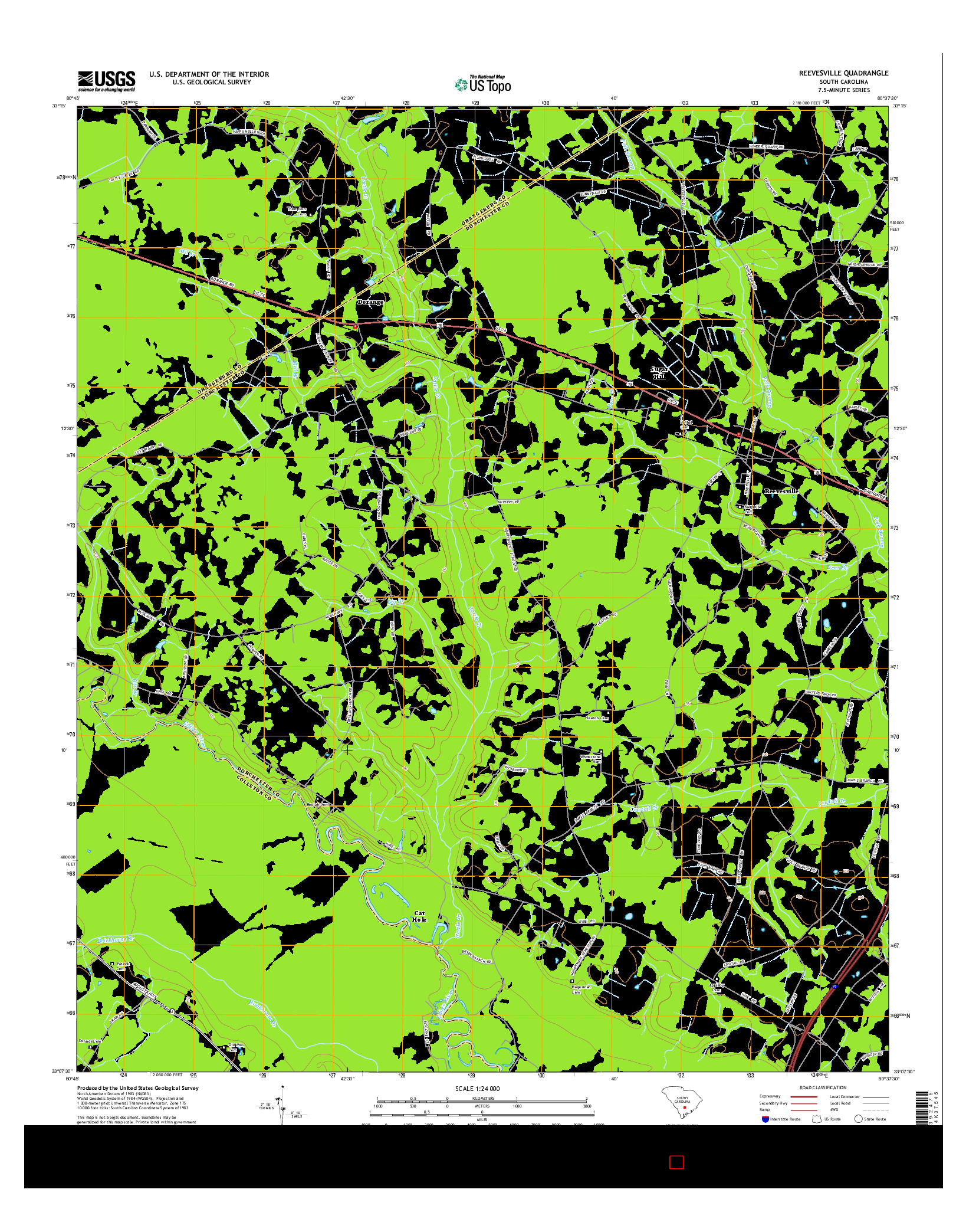 USGS US TOPO 7.5-MINUTE MAP FOR REEVESVILLE, SC 2014