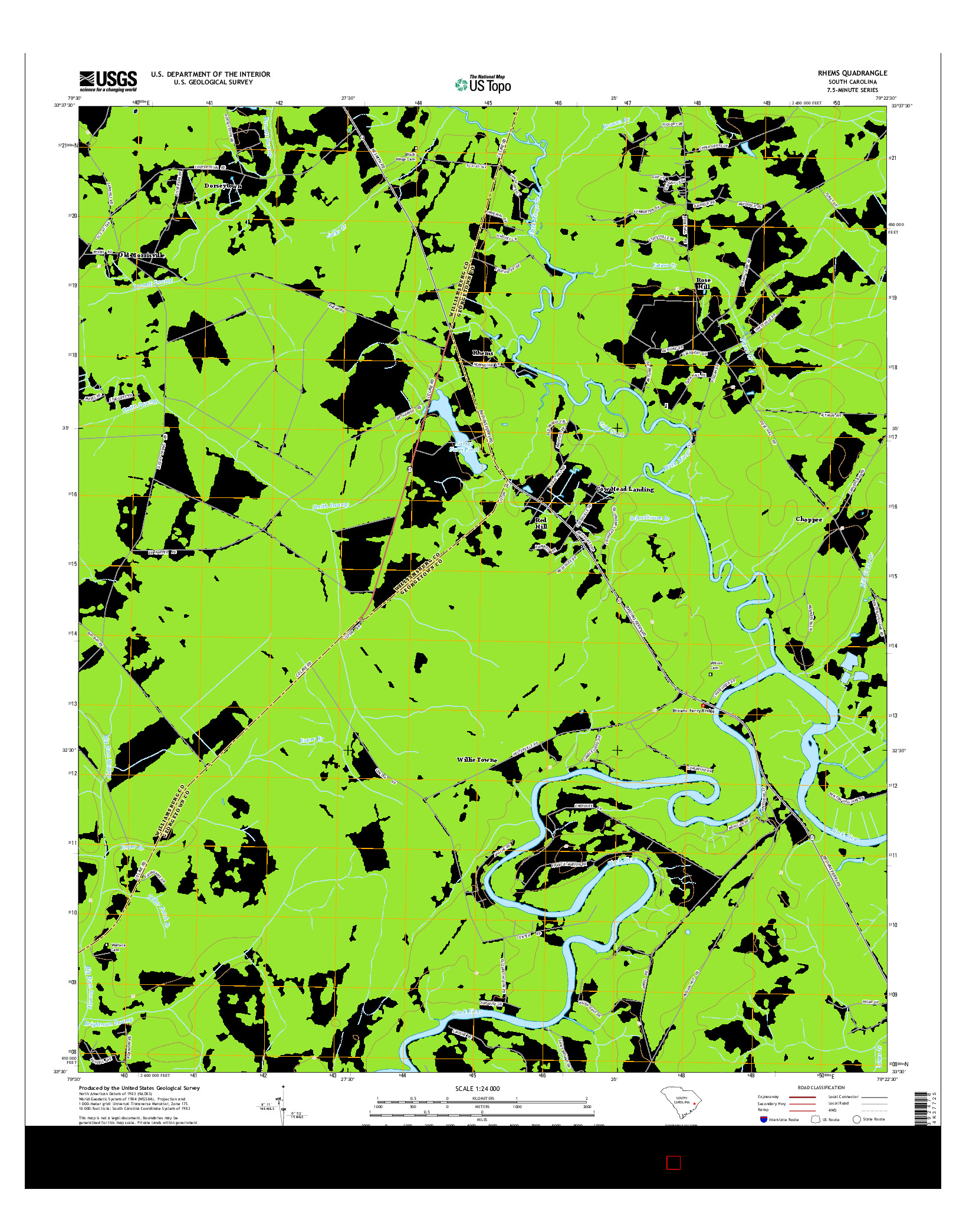 USGS US TOPO 7.5-MINUTE MAP FOR RHEMS, SC 2014