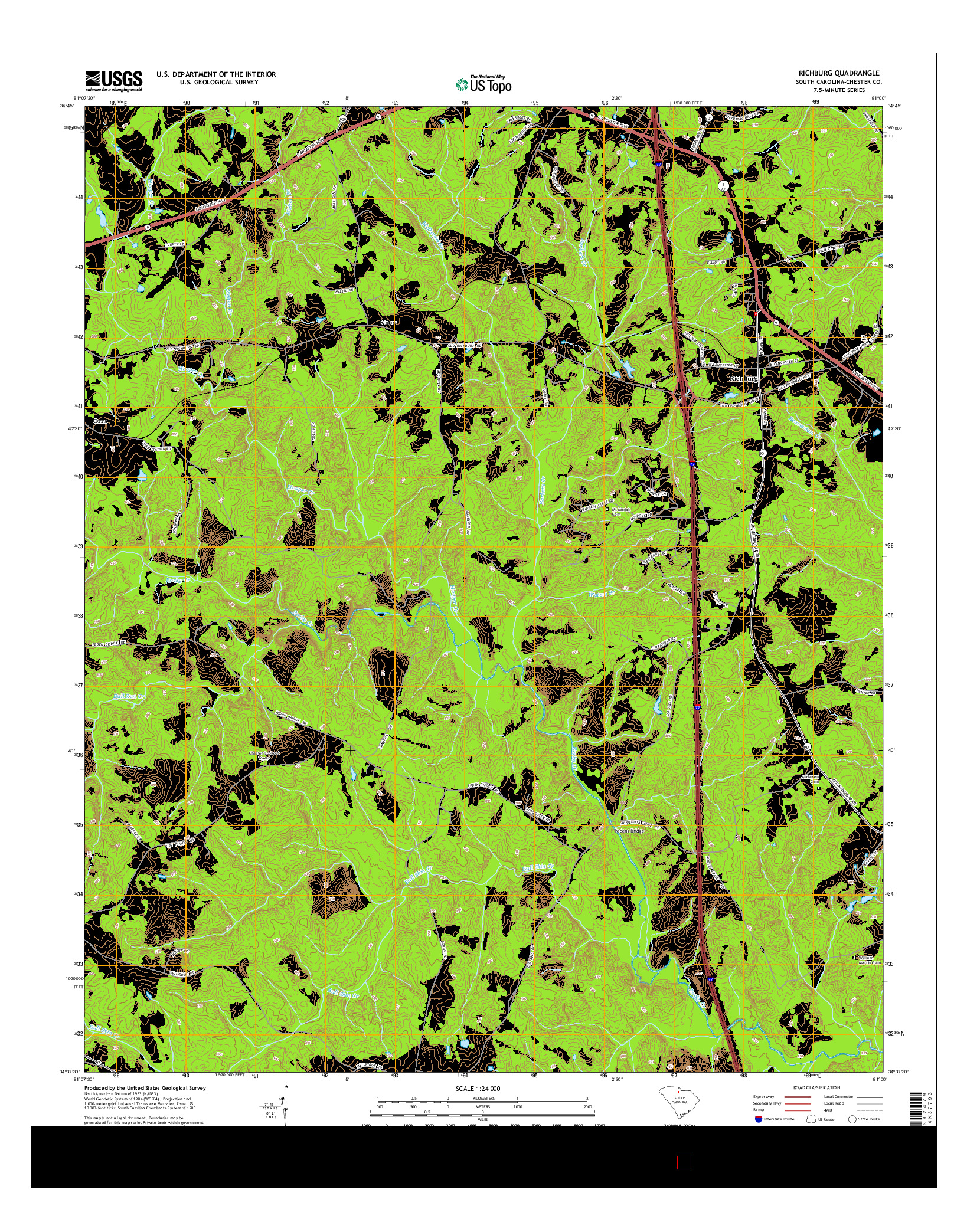 USGS US TOPO 7.5-MINUTE MAP FOR RICHBURG, SC 2014