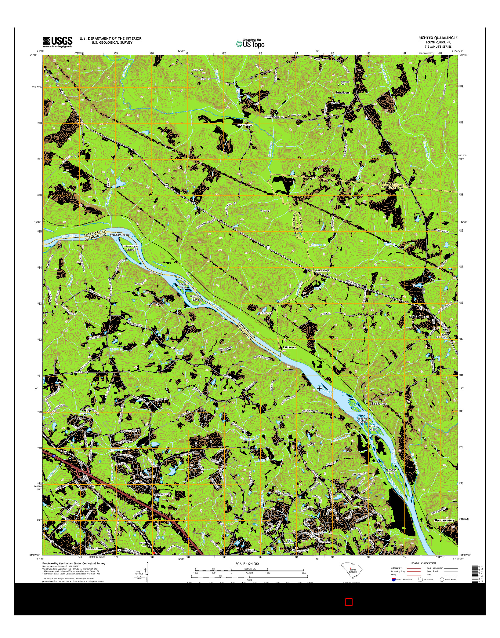 USGS US TOPO 7.5-MINUTE MAP FOR RICHTEX, SC 2014
