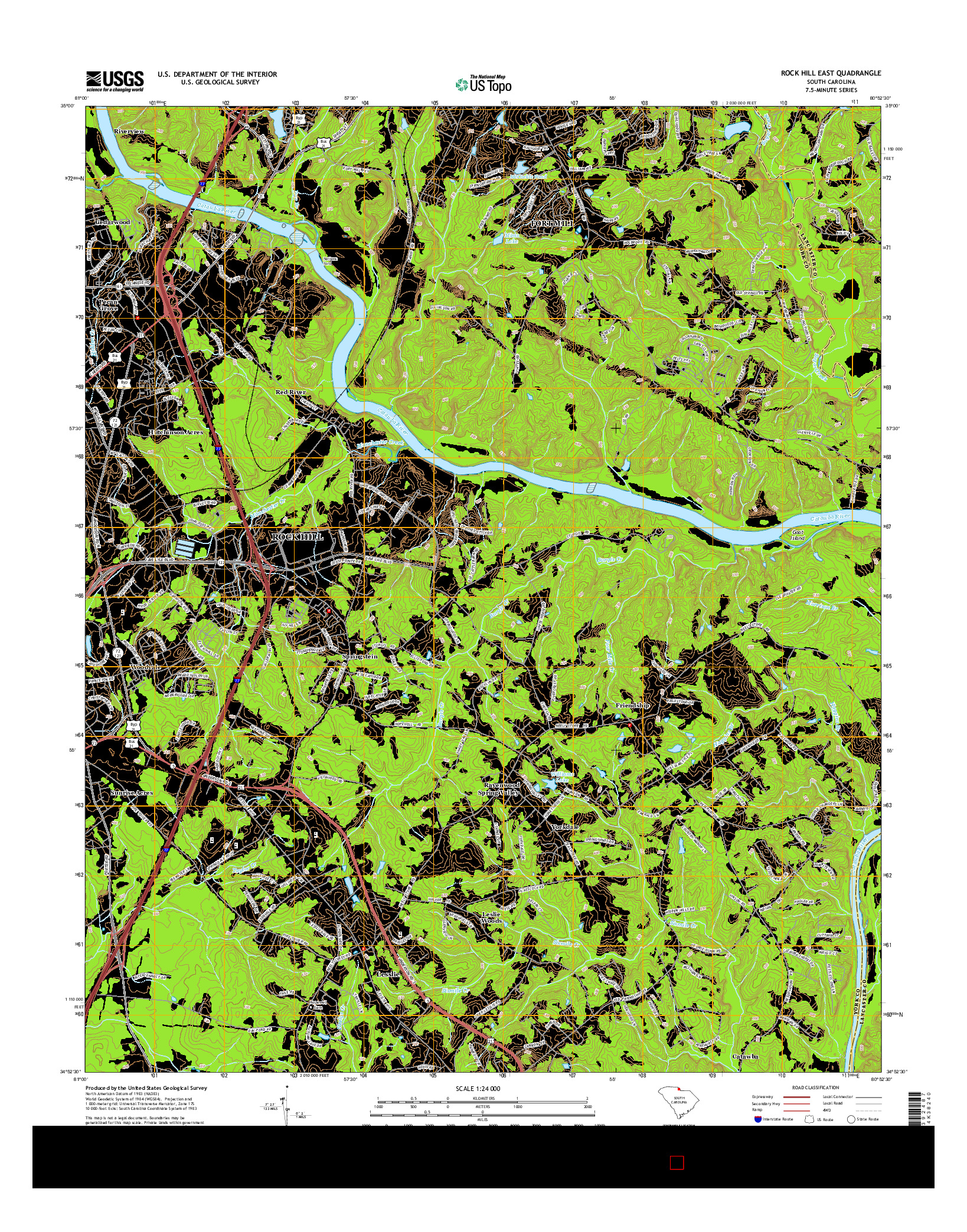 USGS US TOPO 7.5-MINUTE MAP FOR ROCK HILL EAST, SC 2014
