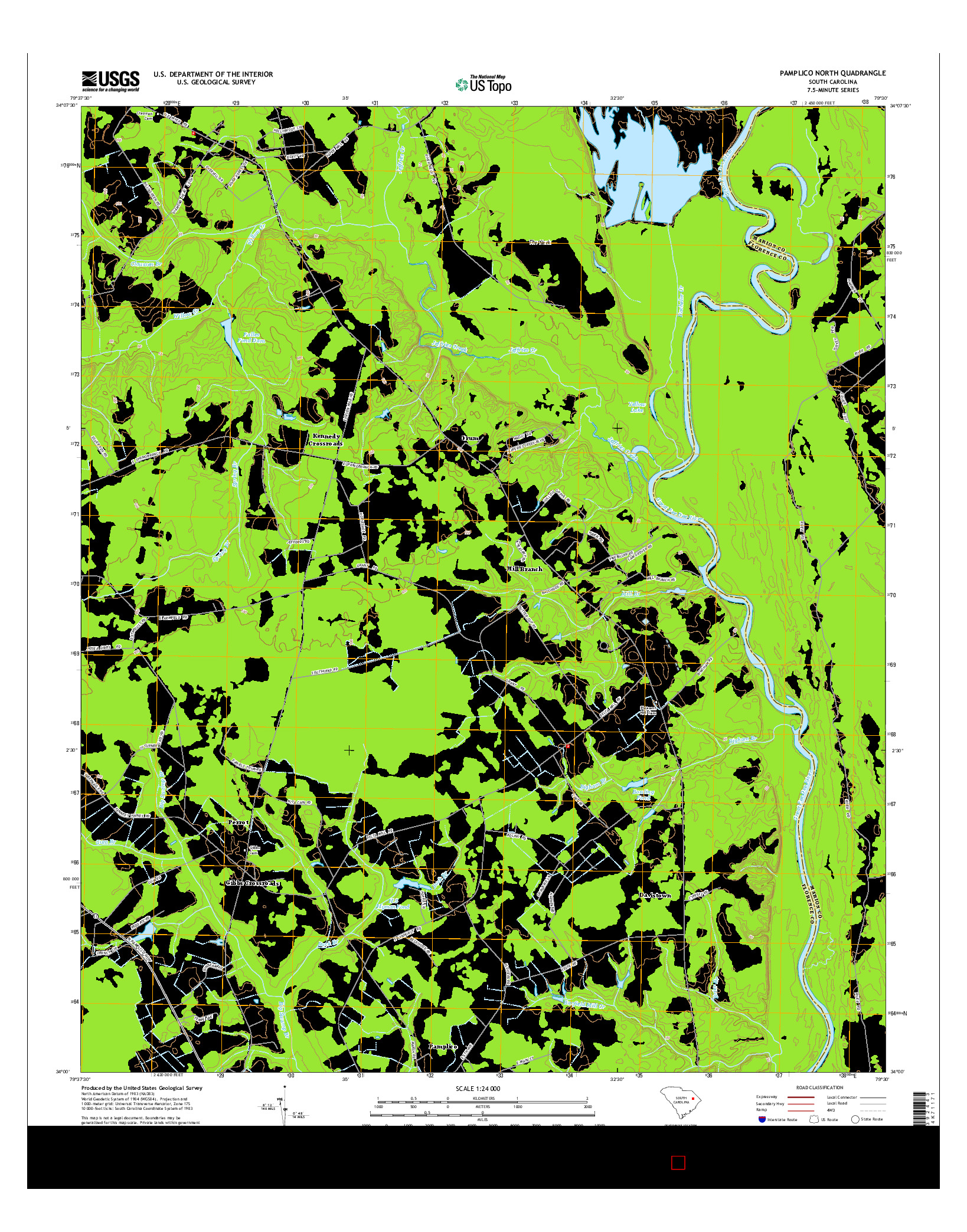 USGS US TOPO 7.5-MINUTE MAP FOR PAMPLICO NORTH, SC 2014