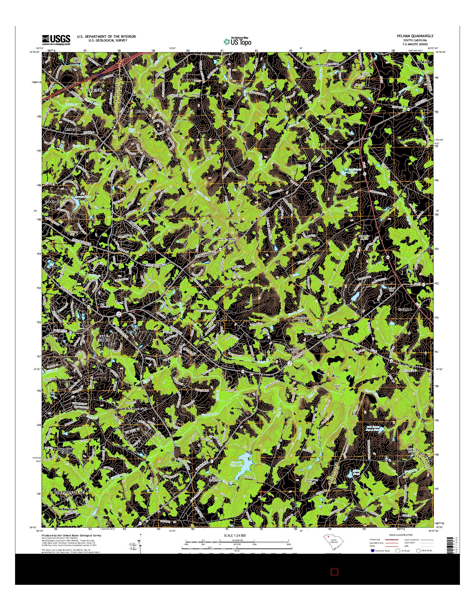 USGS US TOPO 7.5-MINUTE MAP FOR PELHAM, SC 2014