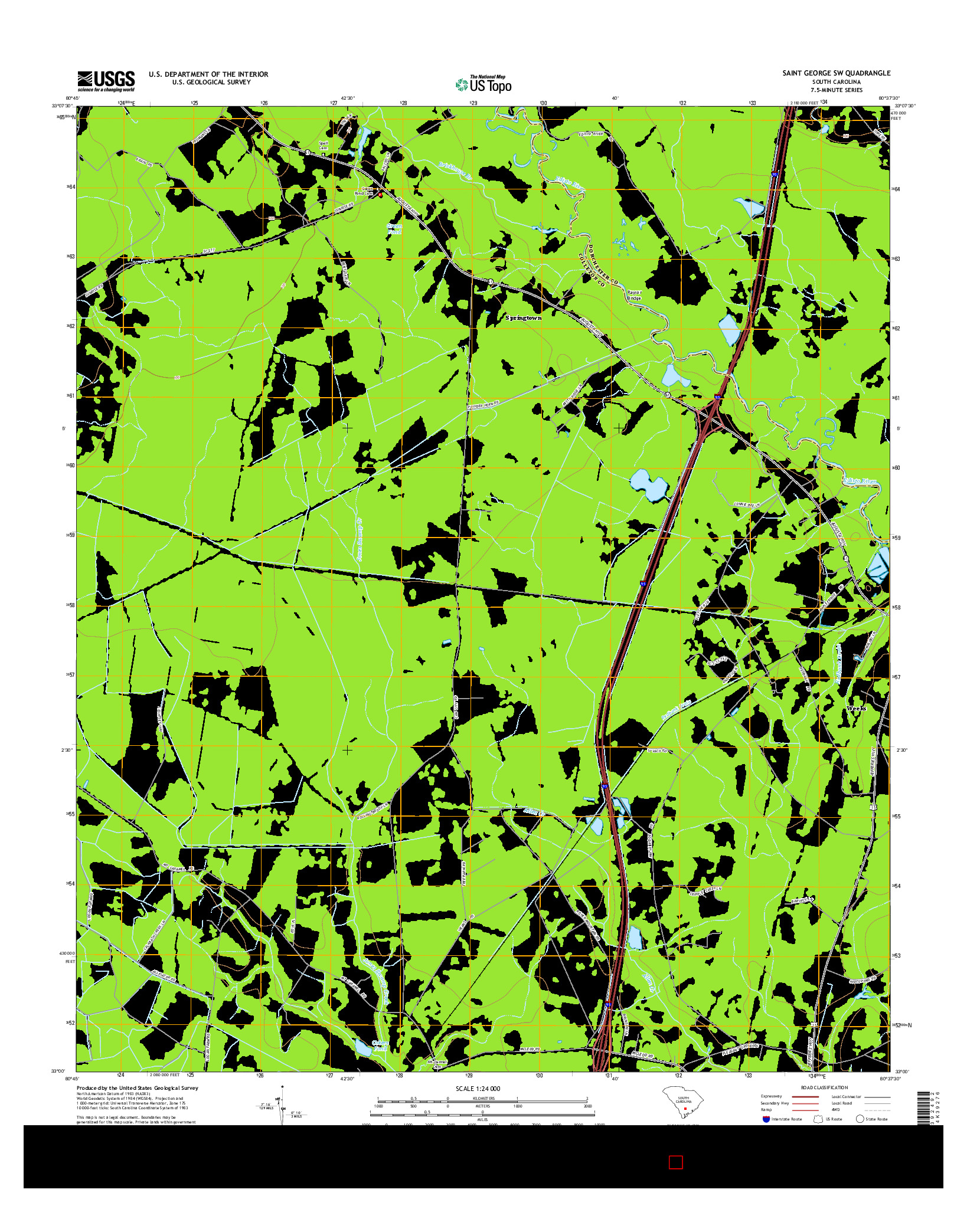 USGS US TOPO 7.5-MINUTE MAP FOR SAINT GEORGE SW, SC 2014