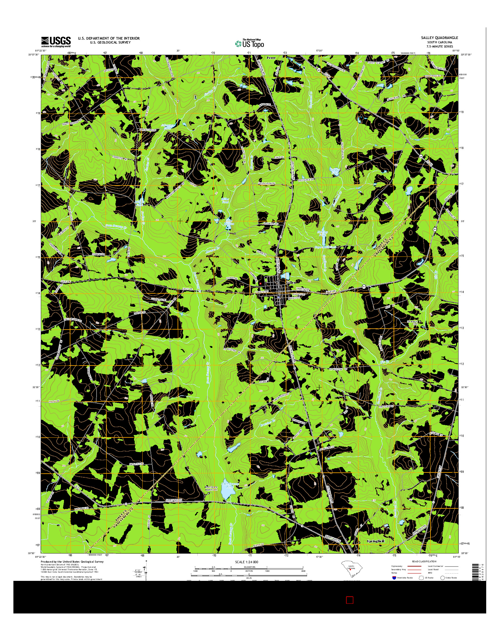 USGS US TOPO 7.5-MINUTE MAP FOR SALLEY, SC 2014