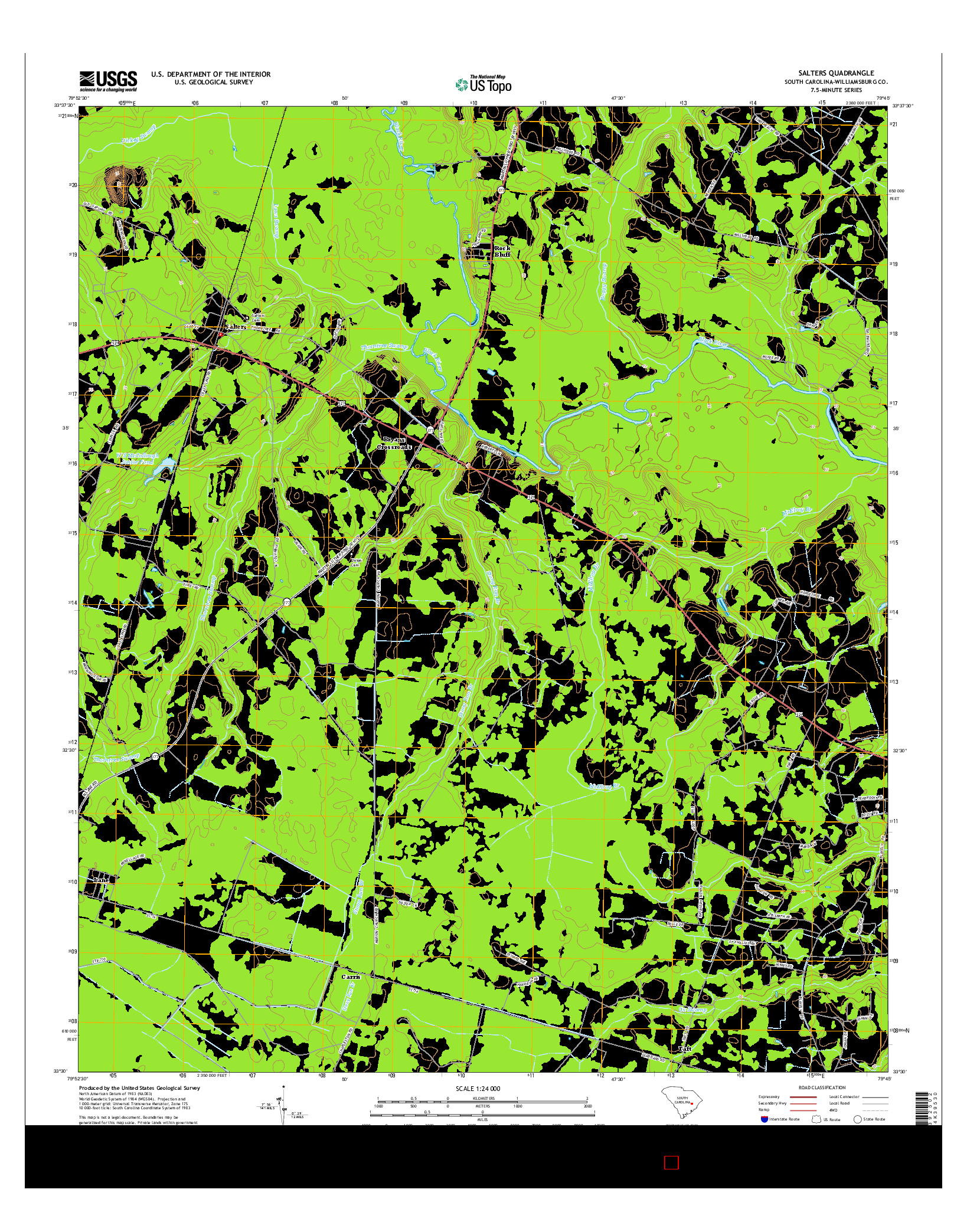 USGS US TOPO 7.5-MINUTE MAP FOR SALTERS, SC 2014
