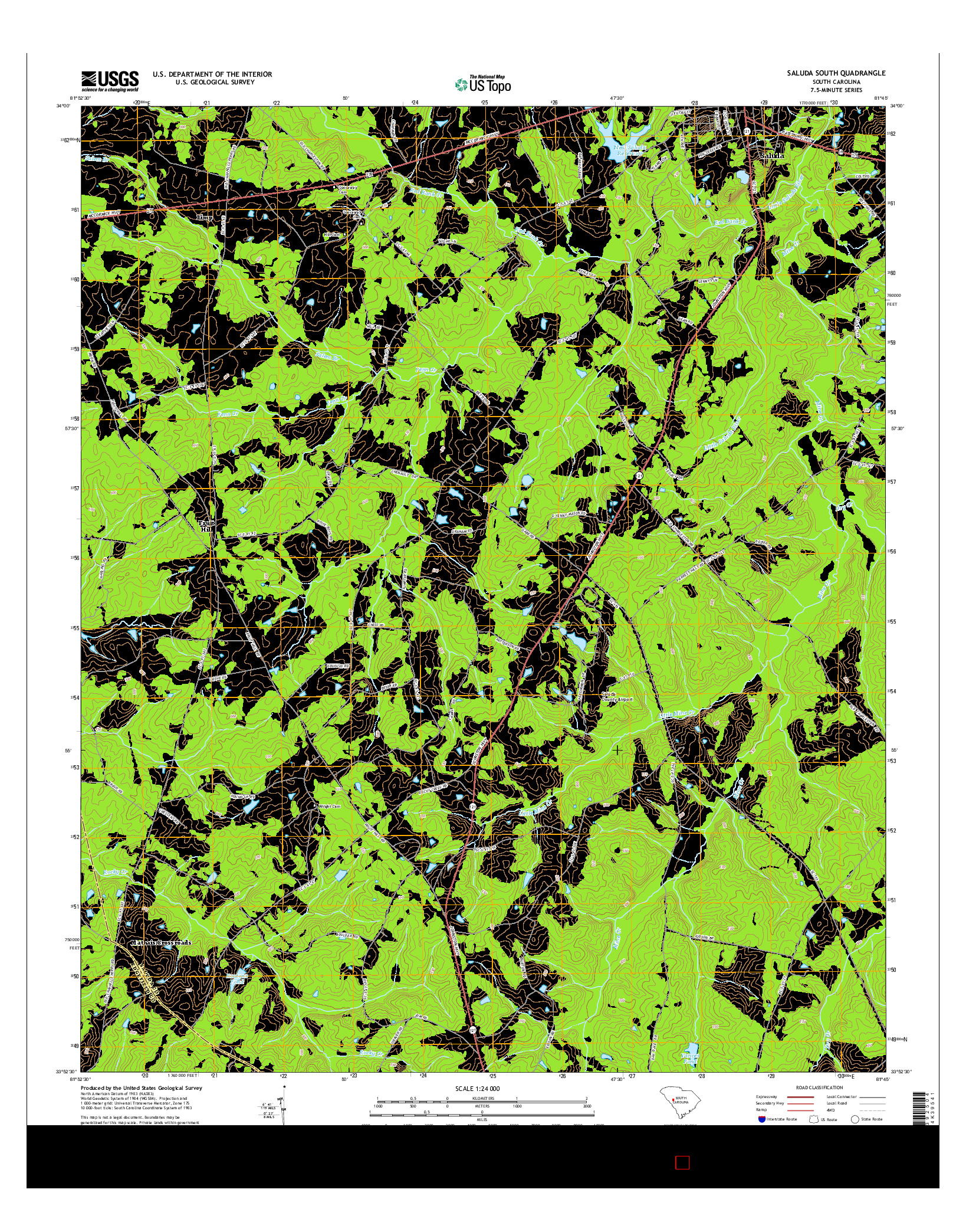 USGS US TOPO 7.5-MINUTE MAP FOR SALUDA SOUTH, SC 2014