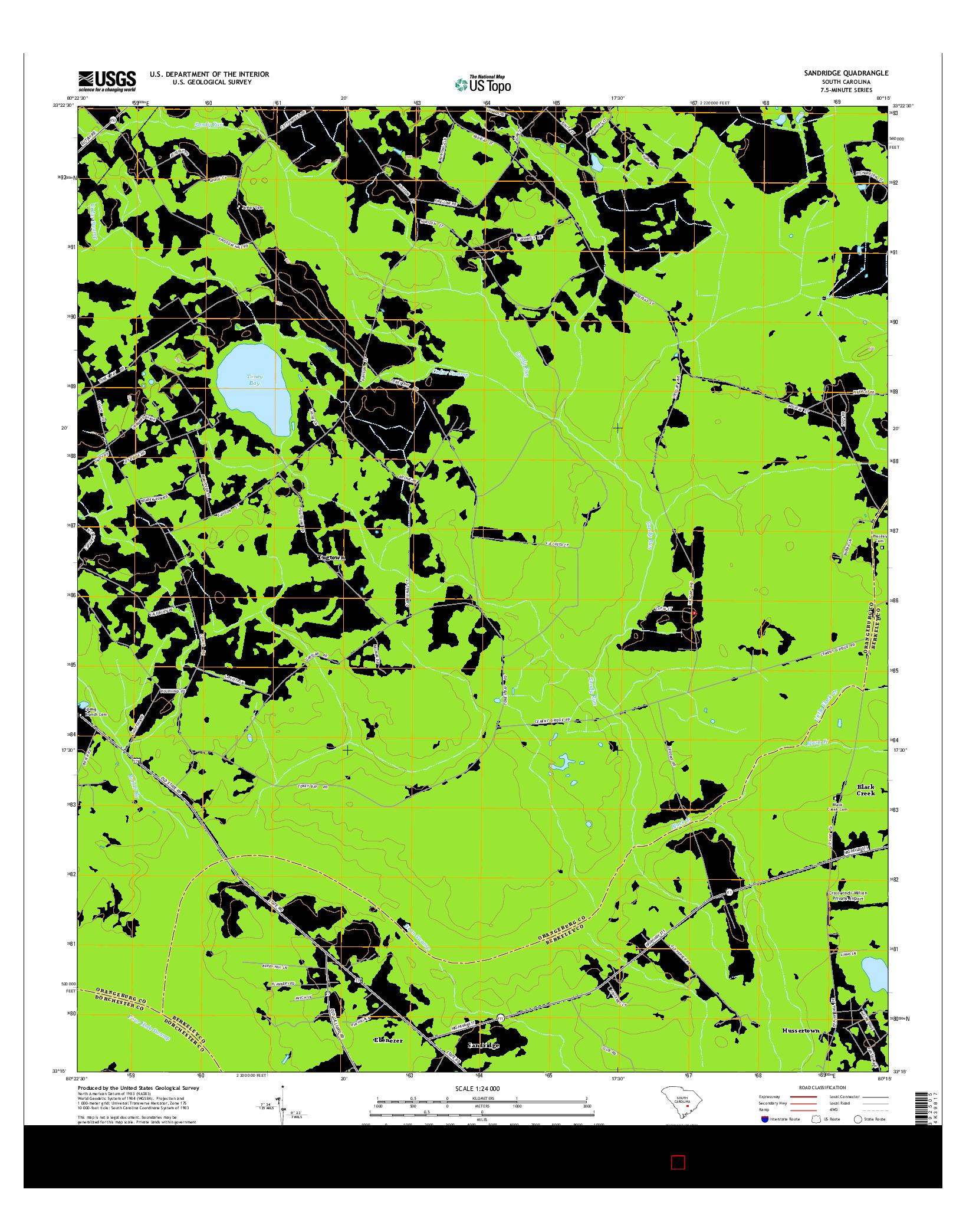 USGS US TOPO 7.5-MINUTE MAP FOR SANDRIDGE, SC 2014