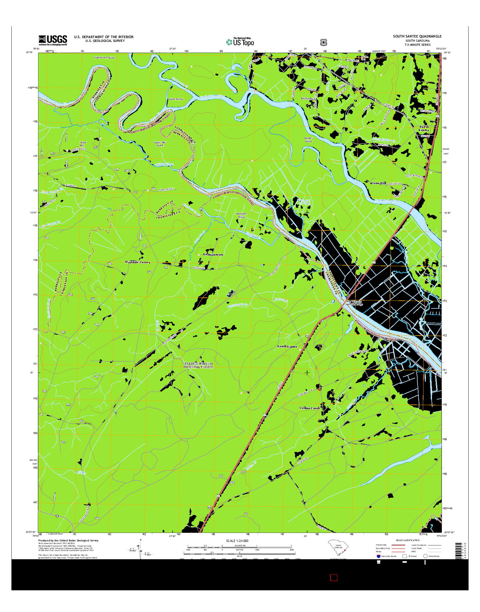 USGS US TOPO 7.5-MINUTE MAP FOR SOUTH SANTEE, SC 2014