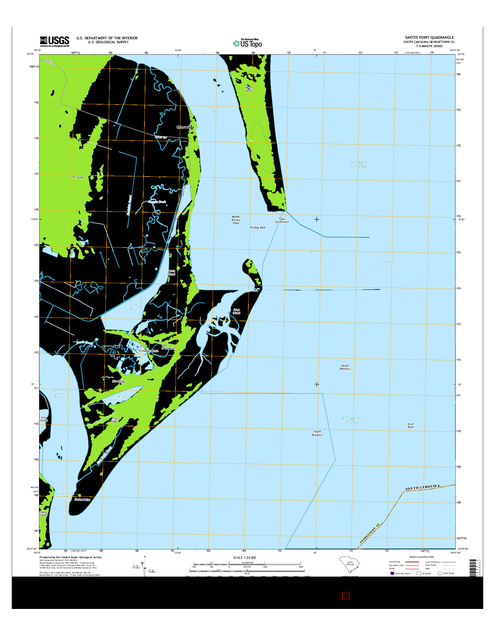 USGS US TOPO 7.5-MINUTE MAP FOR SANTEE POINT, SC 2014