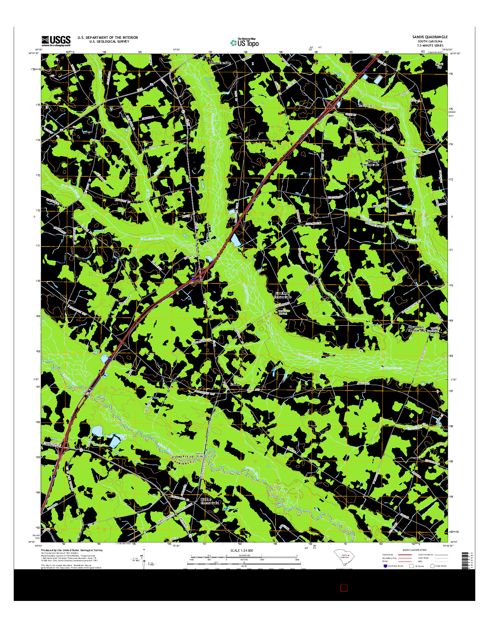 USGS US TOPO 7.5-MINUTE MAP FOR SARDIS, SC 2014
