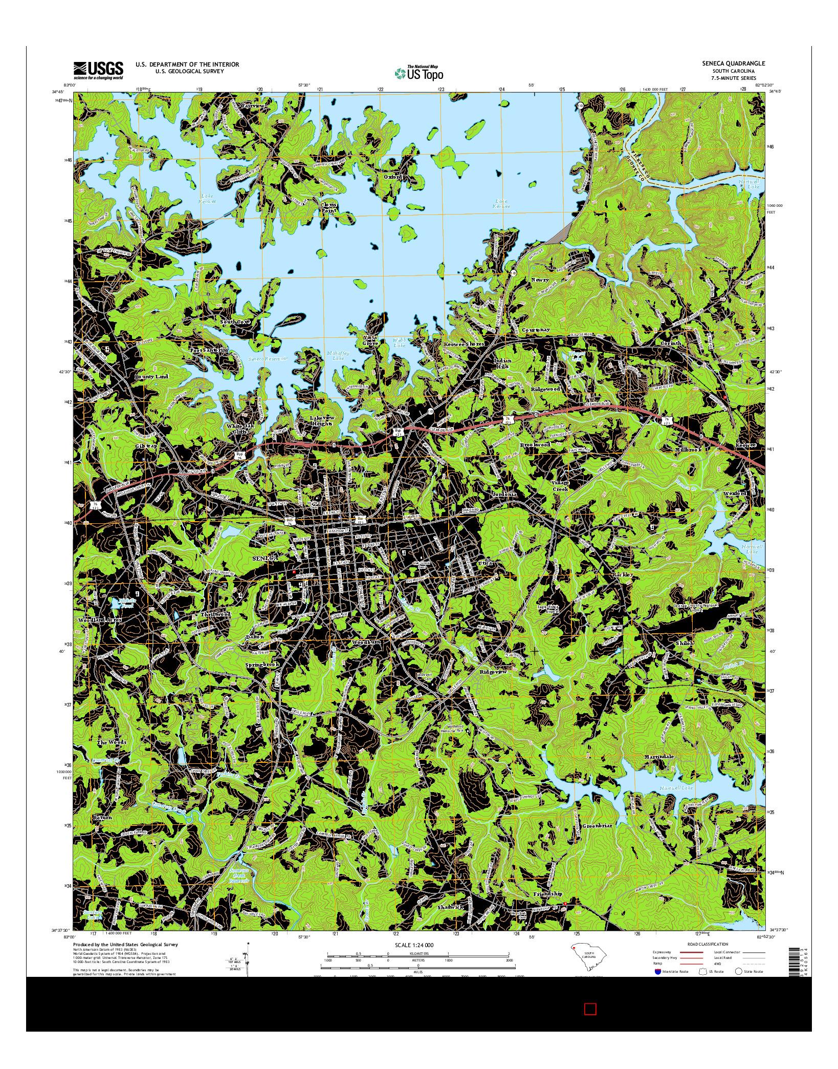 USGS US TOPO 7.5-MINUTE MAP FOR SENECA, SC 2014