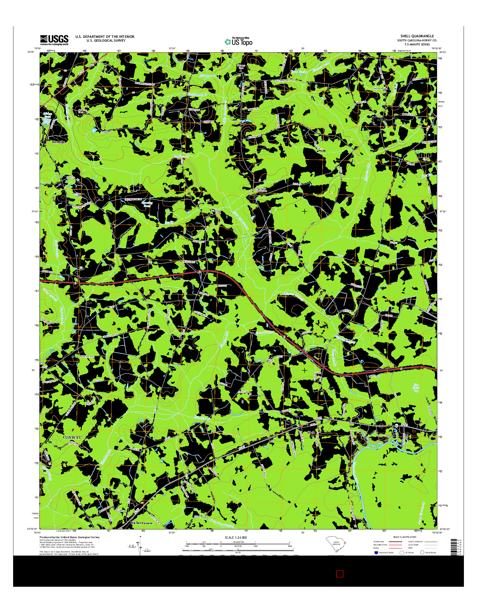 USGS US TOPO 7.5-MINUTE MAP FOR SHELL, SC 2014