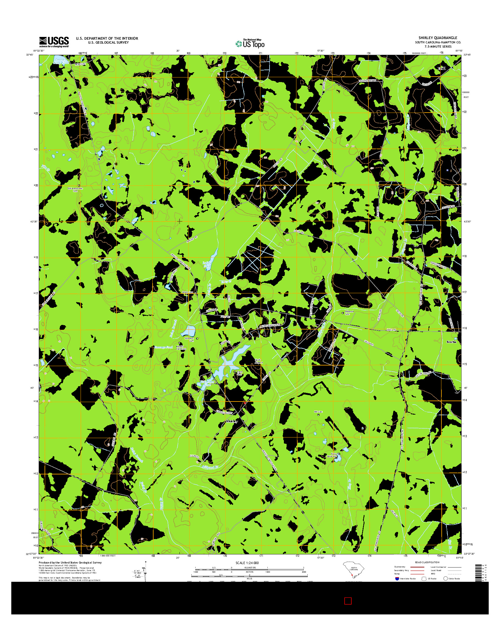USGS US TOPO 7.5-MINUTE MAP FOR SHIRLEY, SC 2014