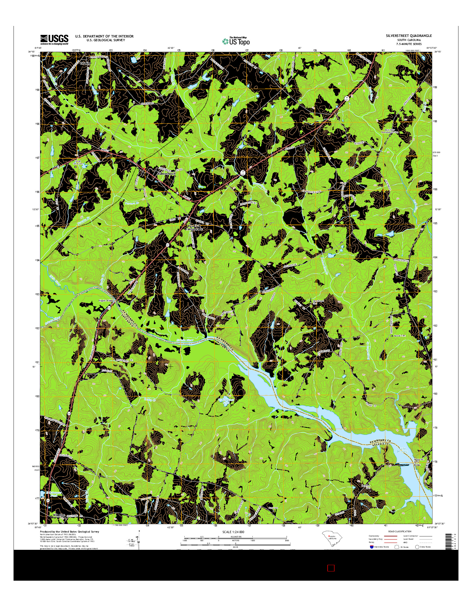 USGS US TOPO 7.5-MINUTE MAP FOR SILVERSTREET, SC 2014