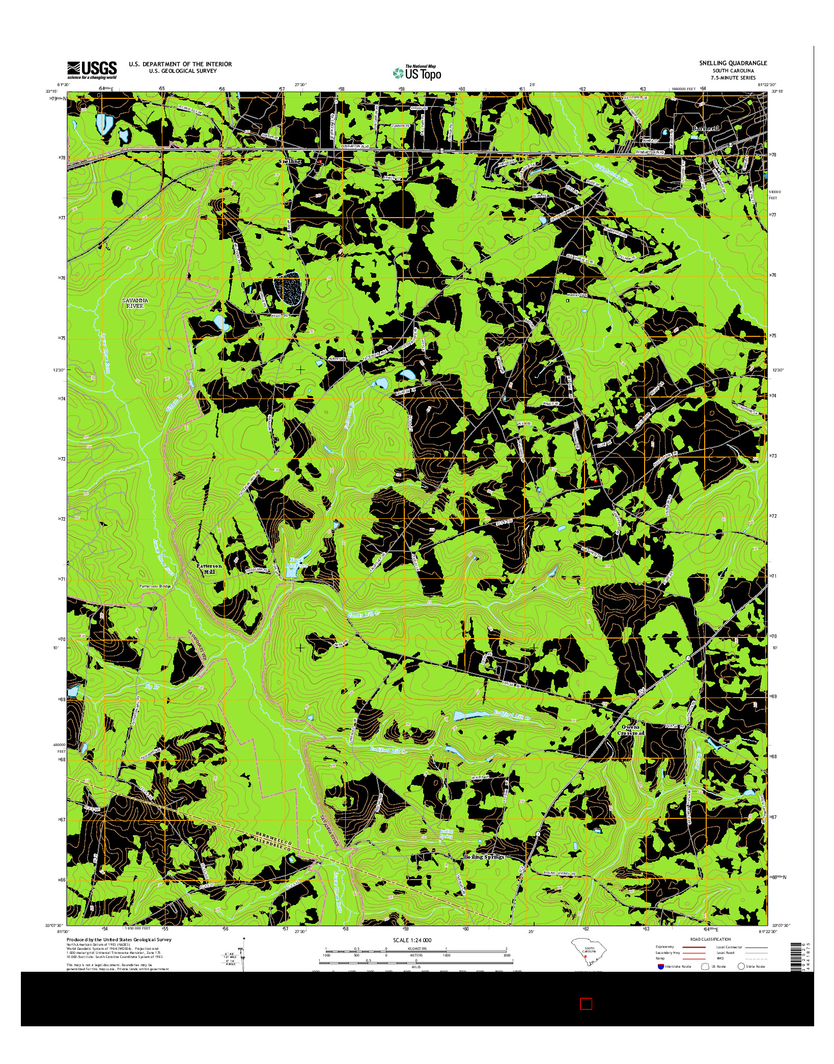 USGS US TOPO 7.5-MINUTE MAP FOR SNELLING, SC 2014