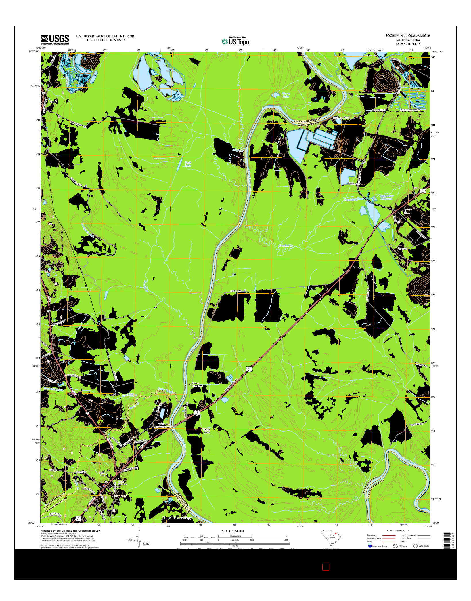 USGS US TOPO 7.5-MINUTE MAP FOR SOCIETY HILL, SC 2014