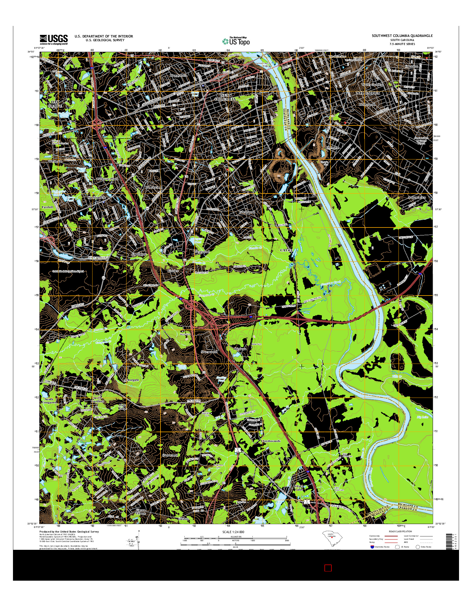 USGS US TOPO 7.5-MINUTE MAP FOR SOUTHWEST COLUMBIA, SC 2014