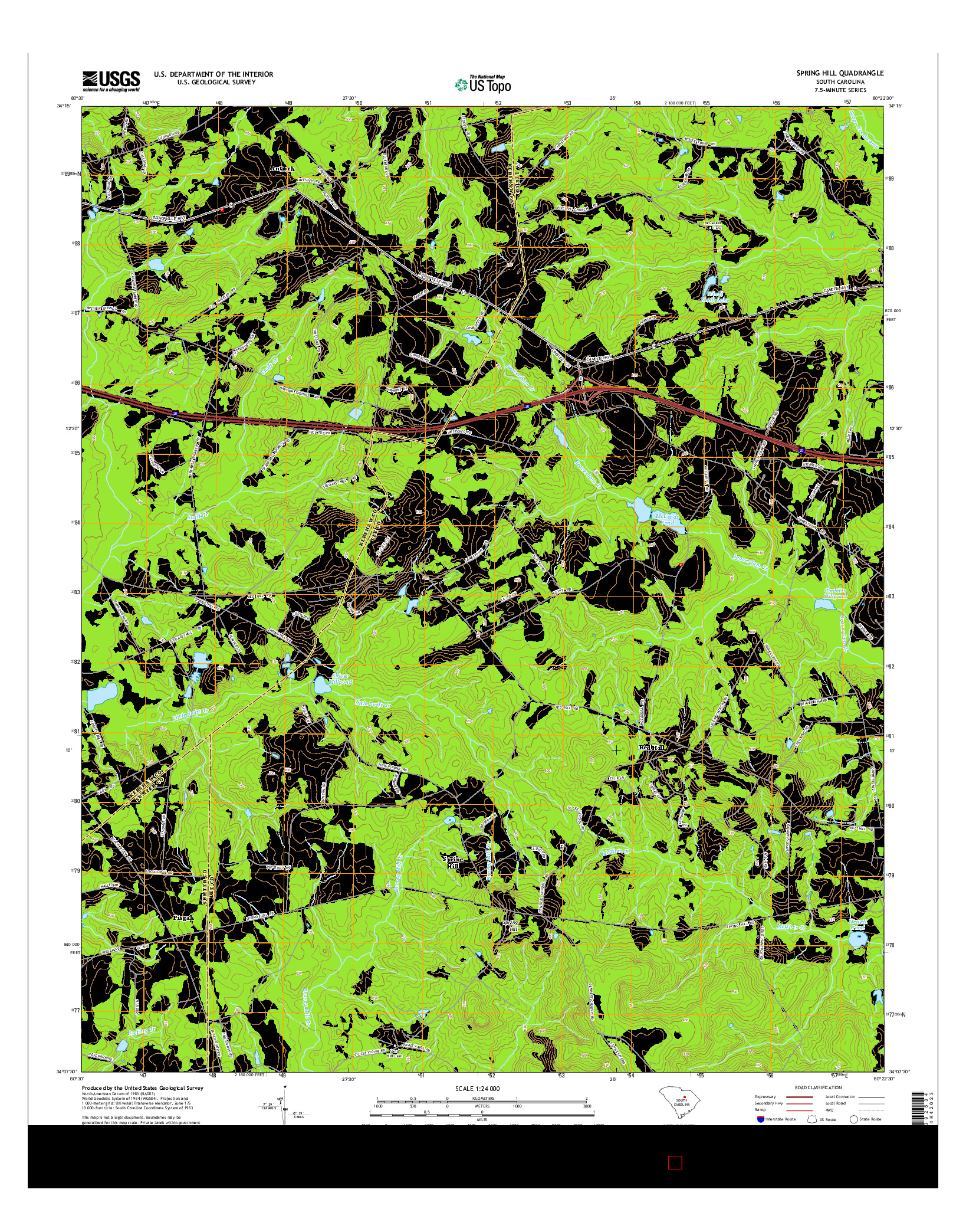 USGS US TOPO 7.5-MINUTE MAP FOR SPRING HILL, SC 2014