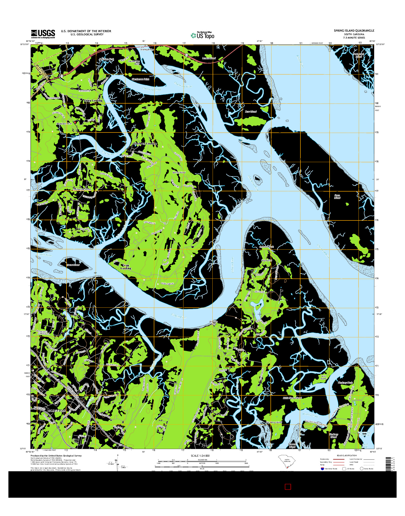 USGS US TOPO 7.5-MINUTE MAP FOR SPRING ISLAND, SC 2014