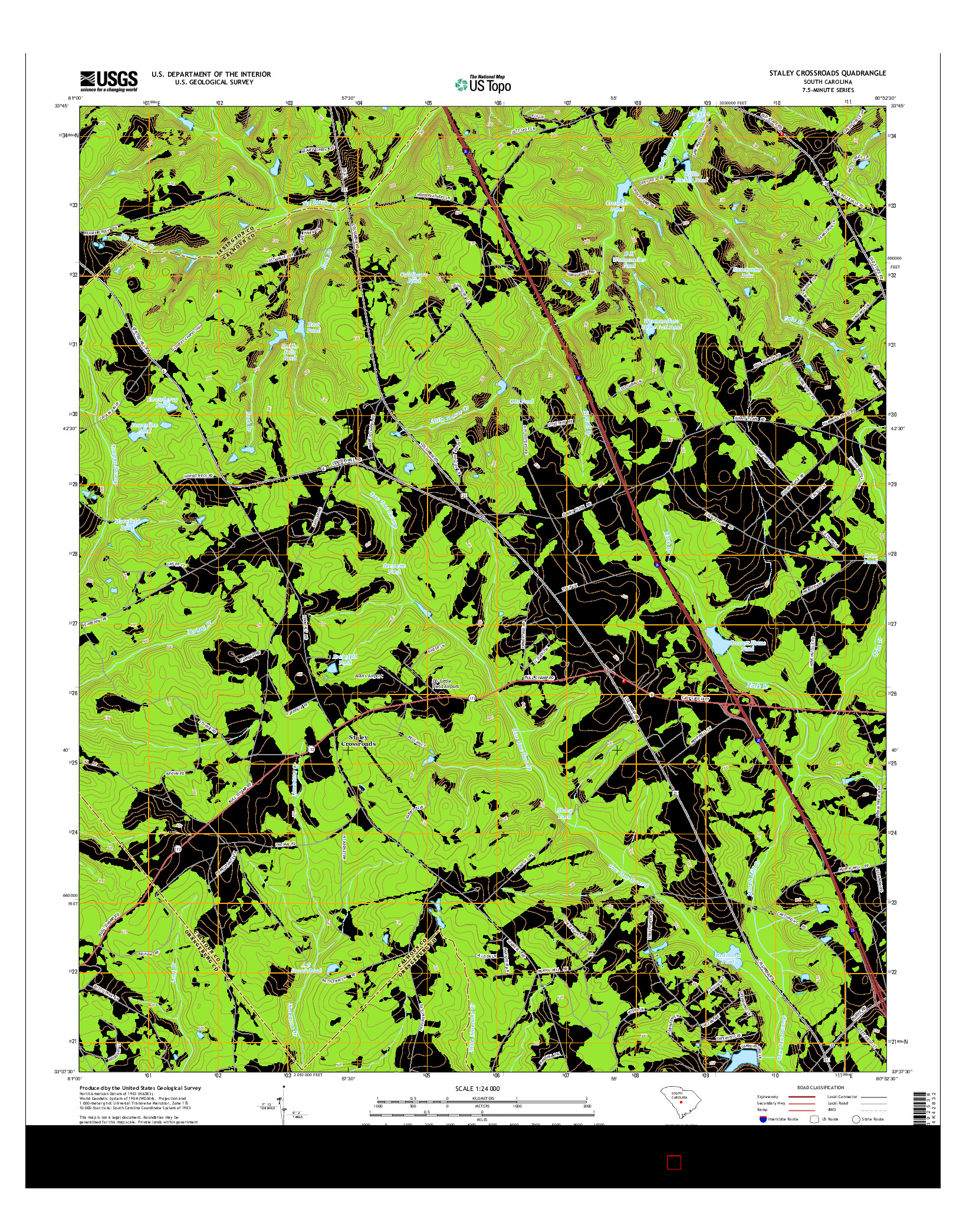 USGS US TOPO 7.5-MINUTE MAP FOR STALEY CROSSROADS, SC 2014