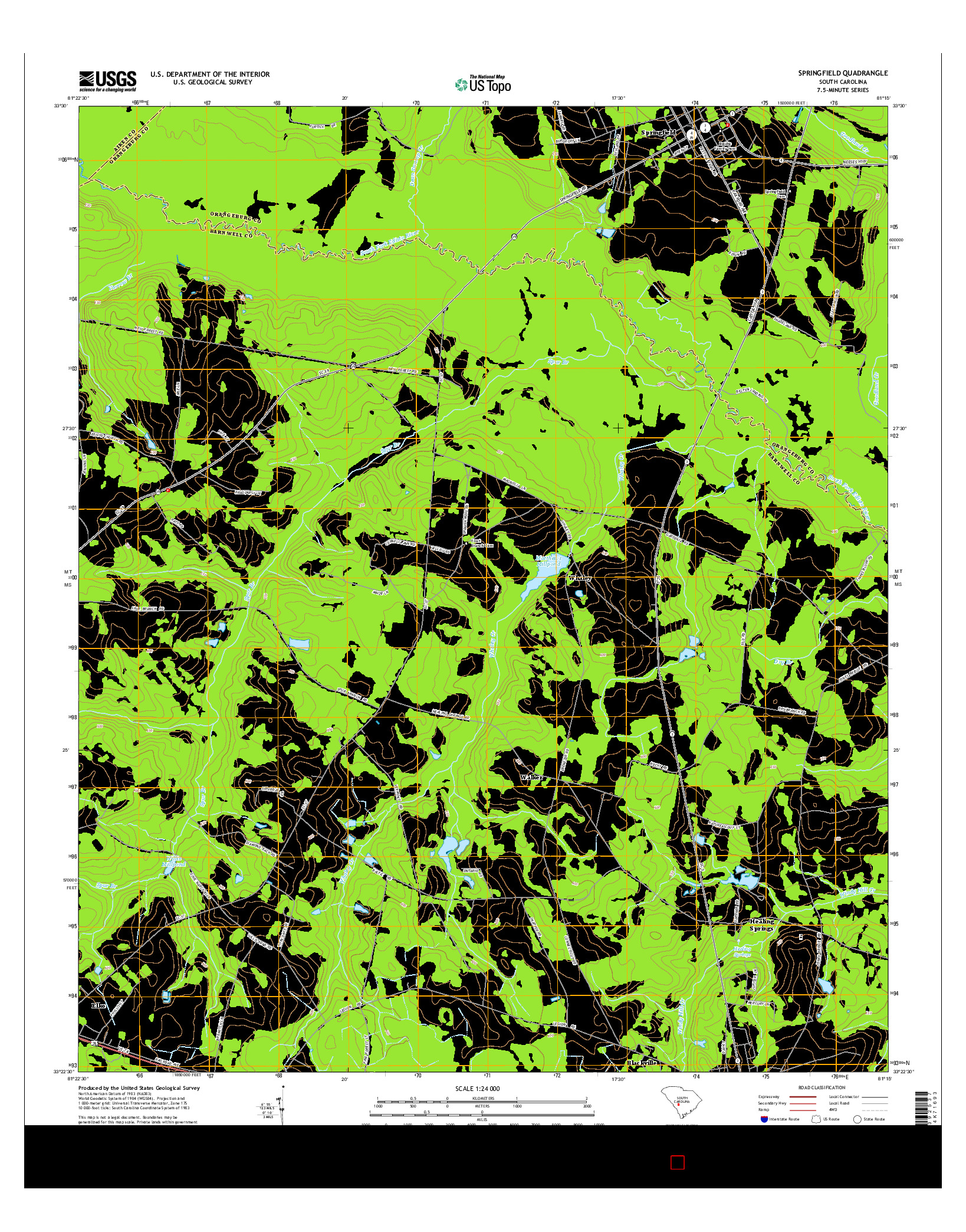USGS US TOPO 7.5-MINUTE MAP FOR SPRINGFIELD, SC 2014