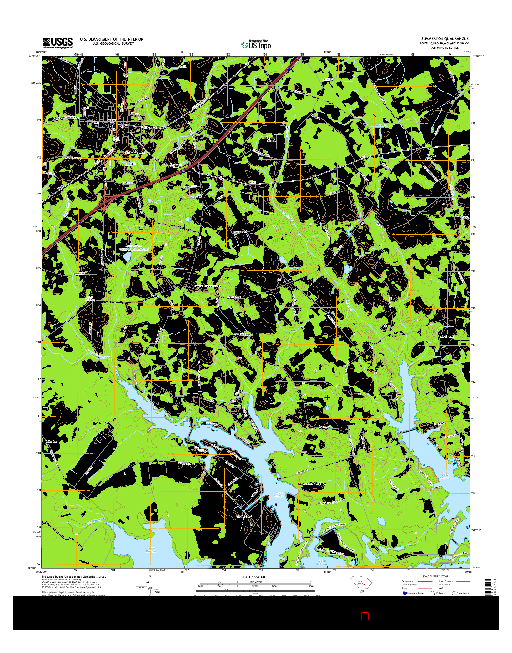 USGS US TOPO 7.5-MINUTE MAP FOR SUMMERTON, SC 2014
