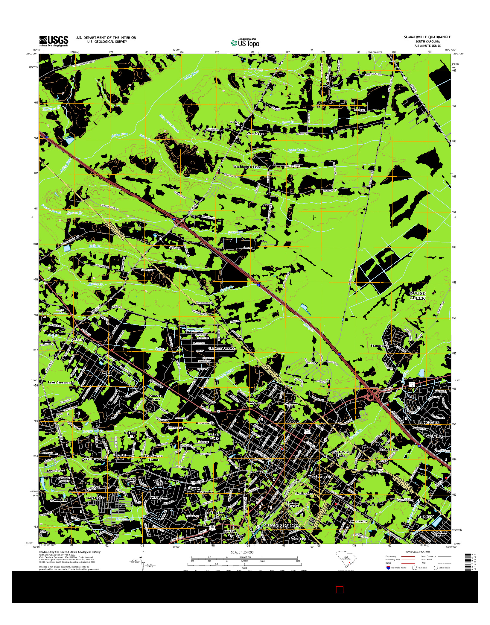 USGS US TOPO 7.5-MINUTE MAP FOR SUMMERVILLE, SC 2014