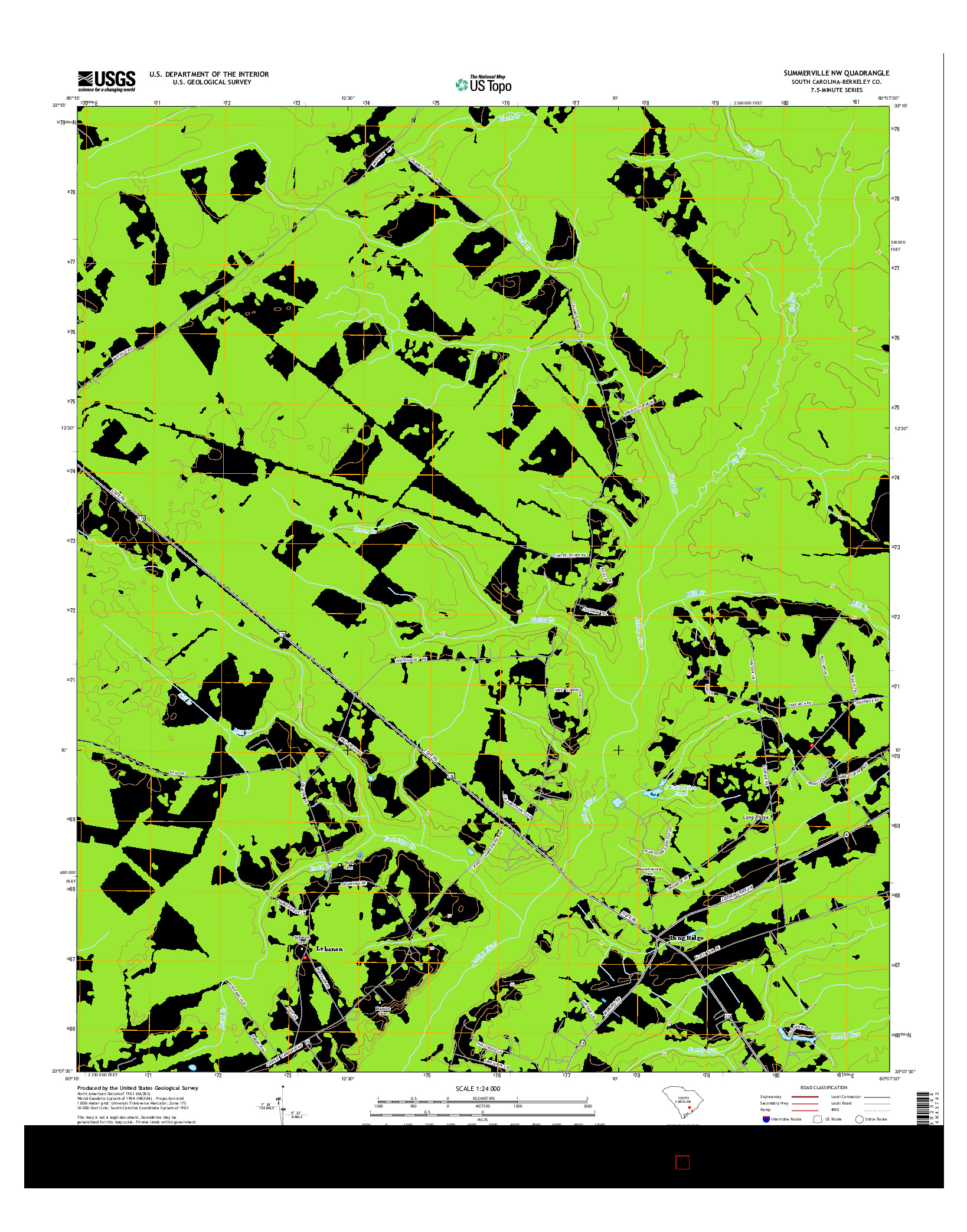 USGS US TOPO 7.5-MINUTE MAP FOR SUMMERVILLE NW, SC 2014