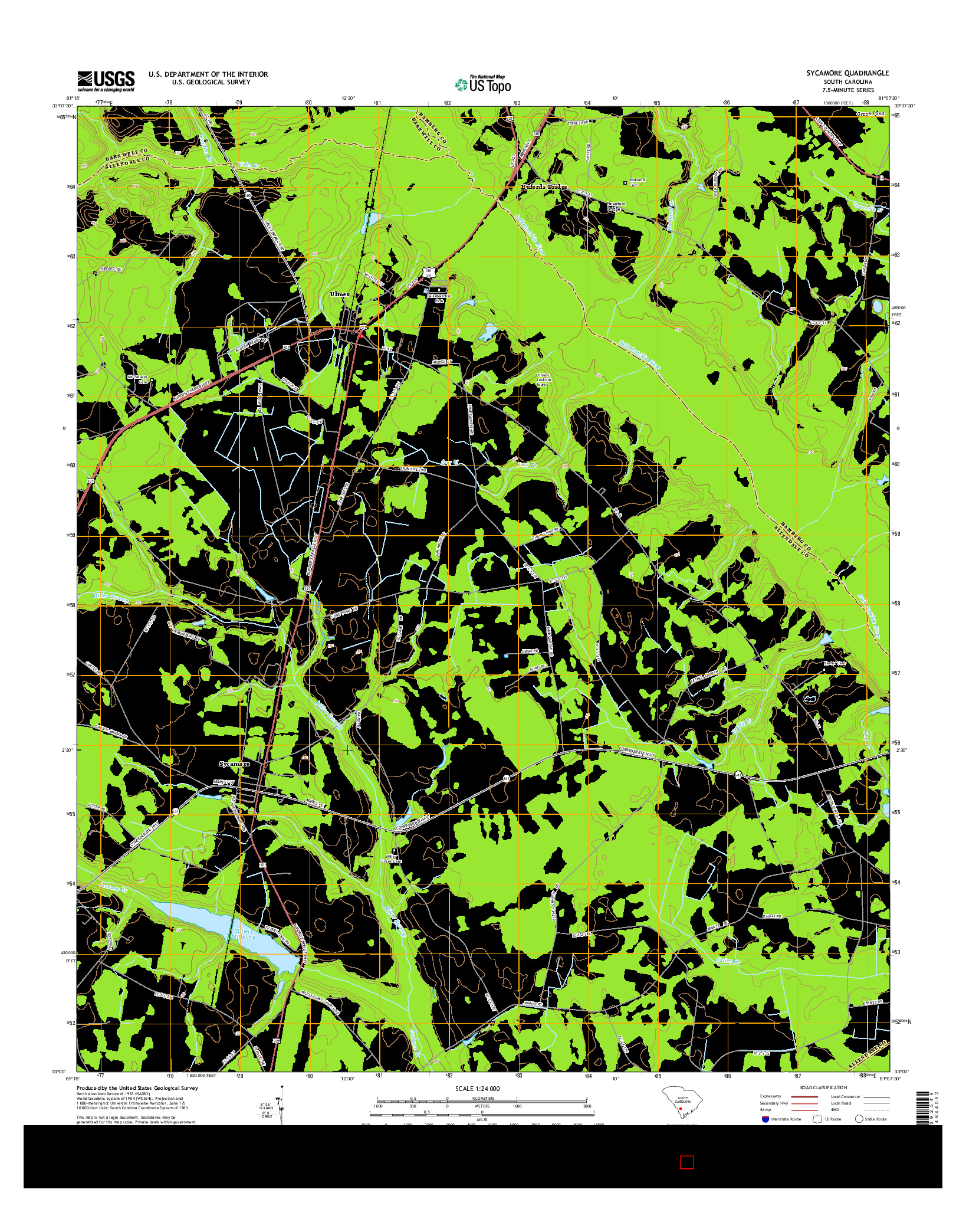 USGS US TOPO 7.5-MINUTE MAP FOR SYCAMORE, SC 2014