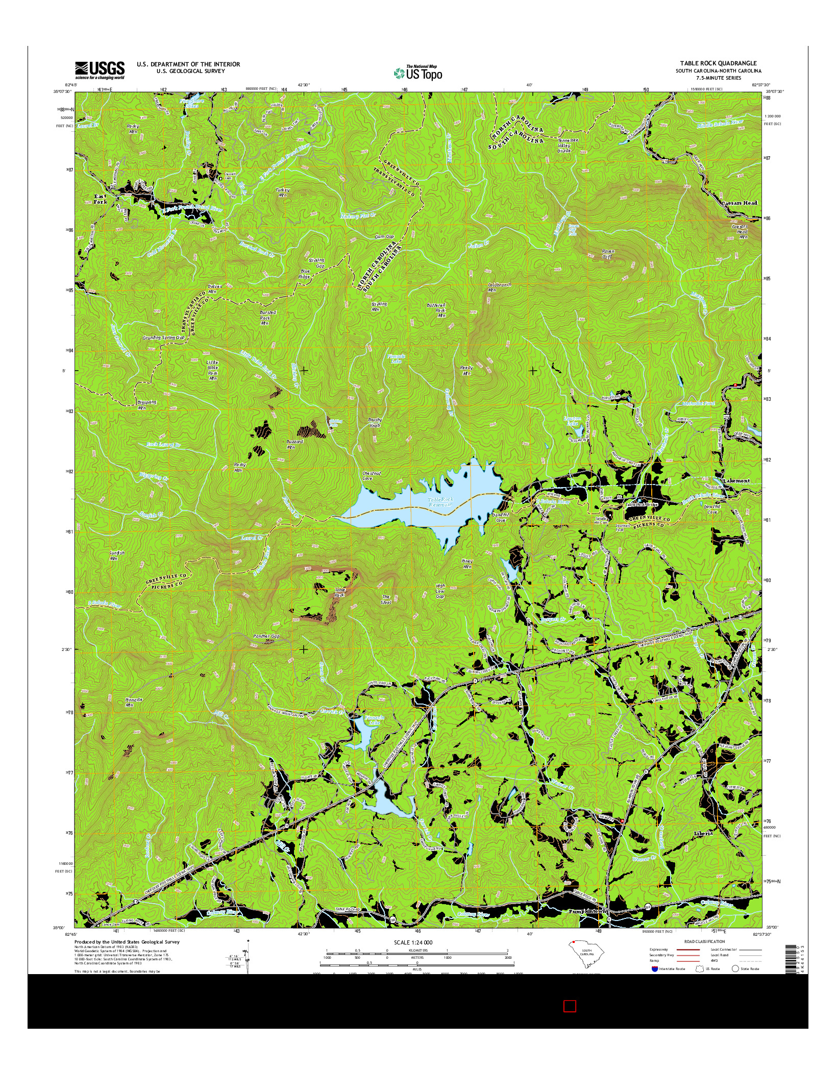 USGS US TOPO 7.5-MINUTE MAP FOR TABLE ROCK, SC-NC 2014