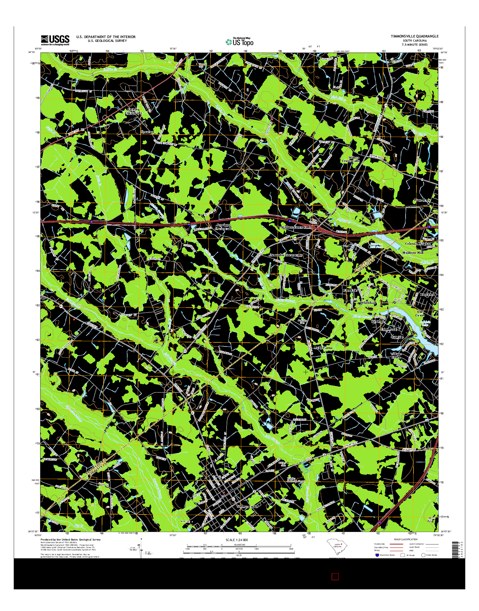 USGS US TOPO 7.5-MINUTE MAP FOR TIMMONSVILLE, SC 2014