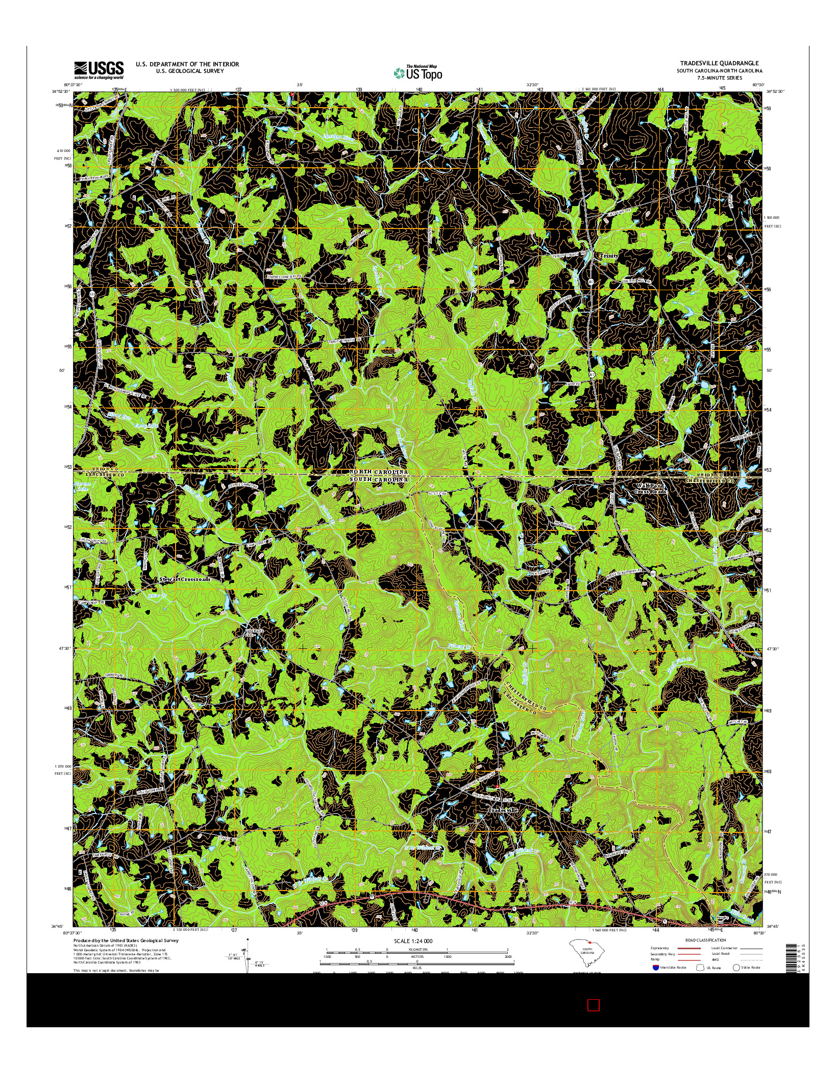 USGS US TOPO 7.5-MINUTE MAP FOR TRADESVILLE, SC-NC 2014