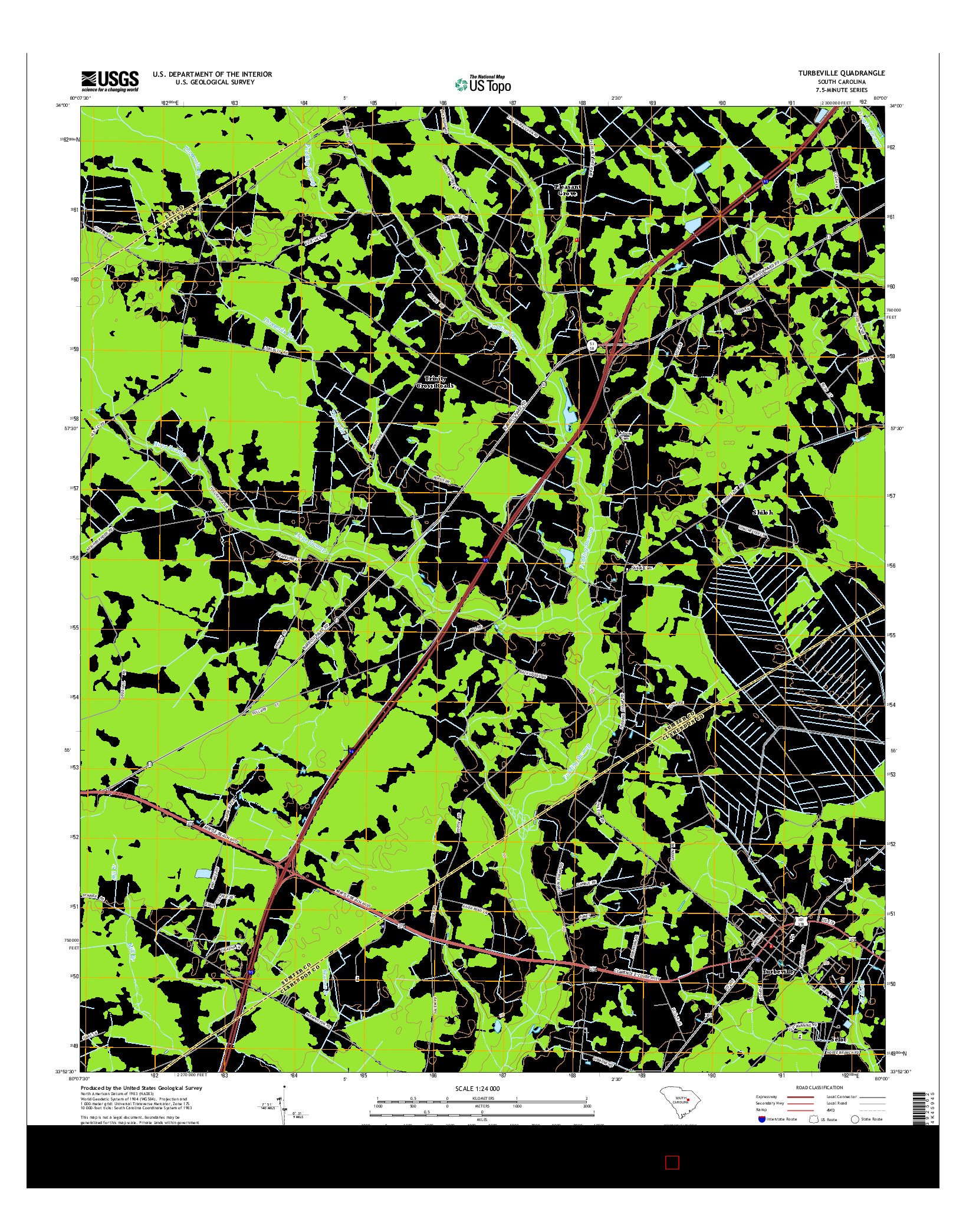USGS US TOPO 7.5-MINUTE MAP FOR TURBEVILLE, SC 2014