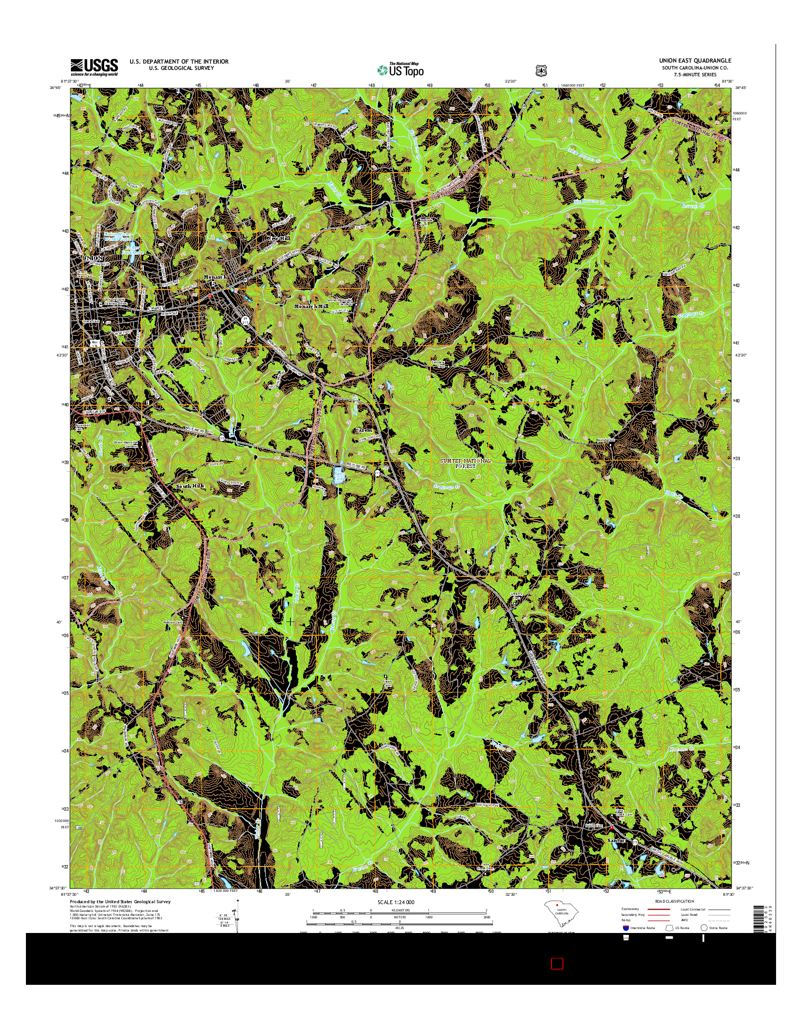 USGS US TOPO 7.5-MINUTE MAP FOR UNION EAST, SC 2014