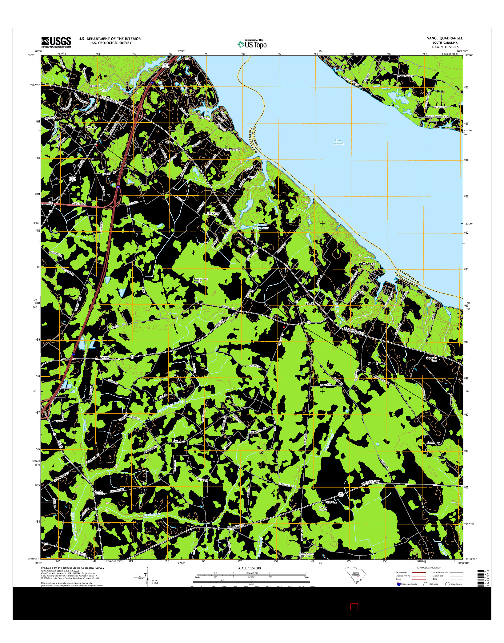 USGS US TOPO 7.5-MINUTE MAP FOR VANCE, SC 2014