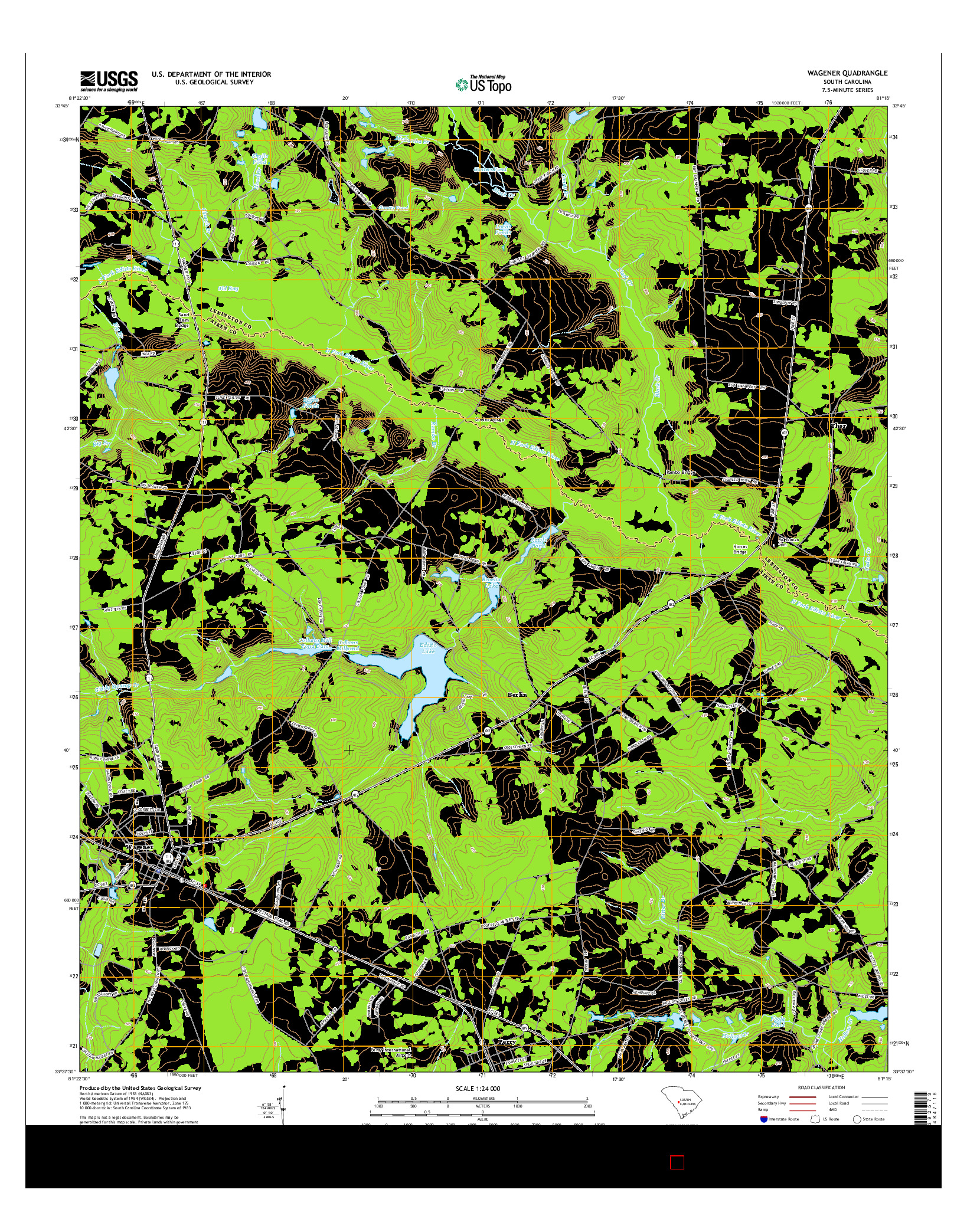 USGS US TOPO 7.5-MINUTE MAP FOR WAGENER, SC 2014