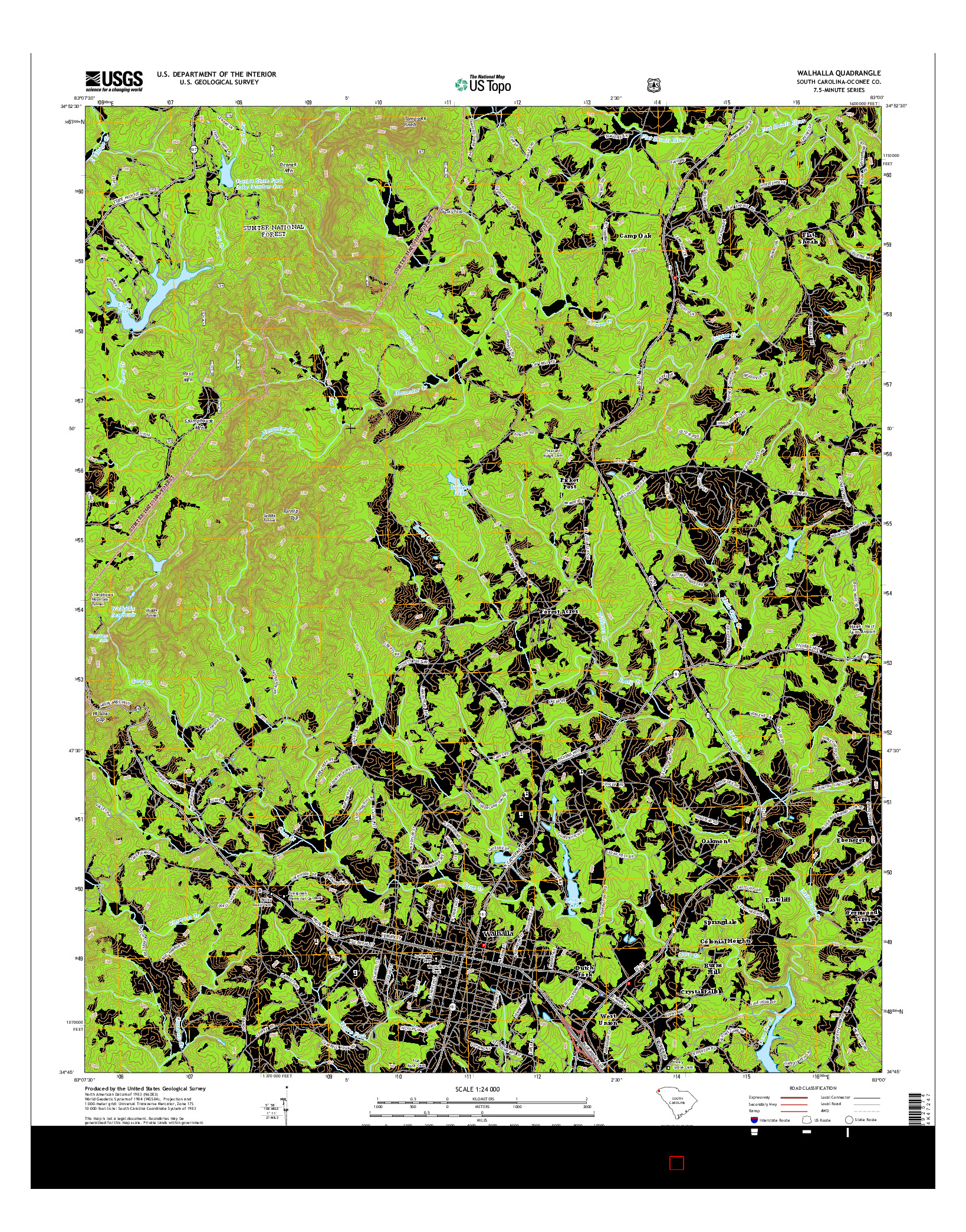 USGS US TOPO 7.5-MINUTE MAP FOR WALHALLA, SC 2014