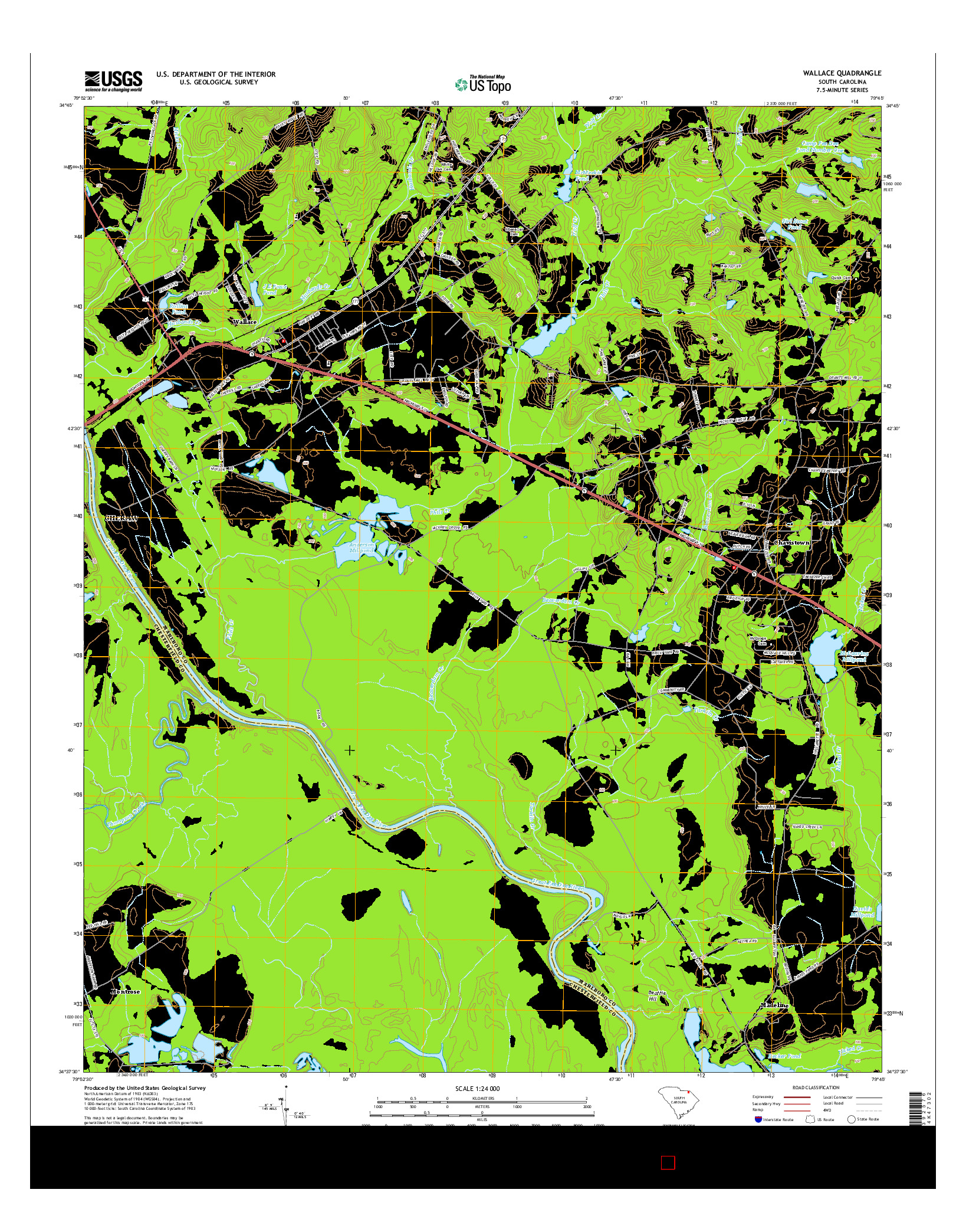 USGS US TOPO 7.5-MINUTE MAP FOR WALLACE, SC 2014