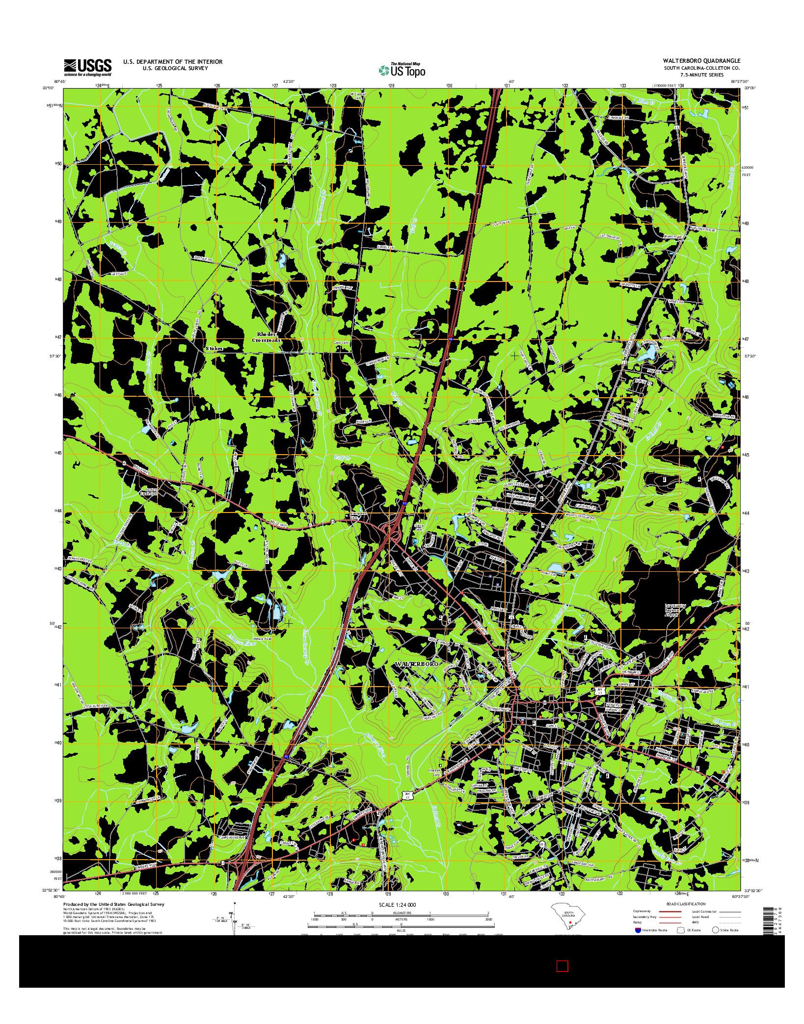 USGS US TOPO 7.5-MINUTE MAP FOR WALTERBORO, SC 2014