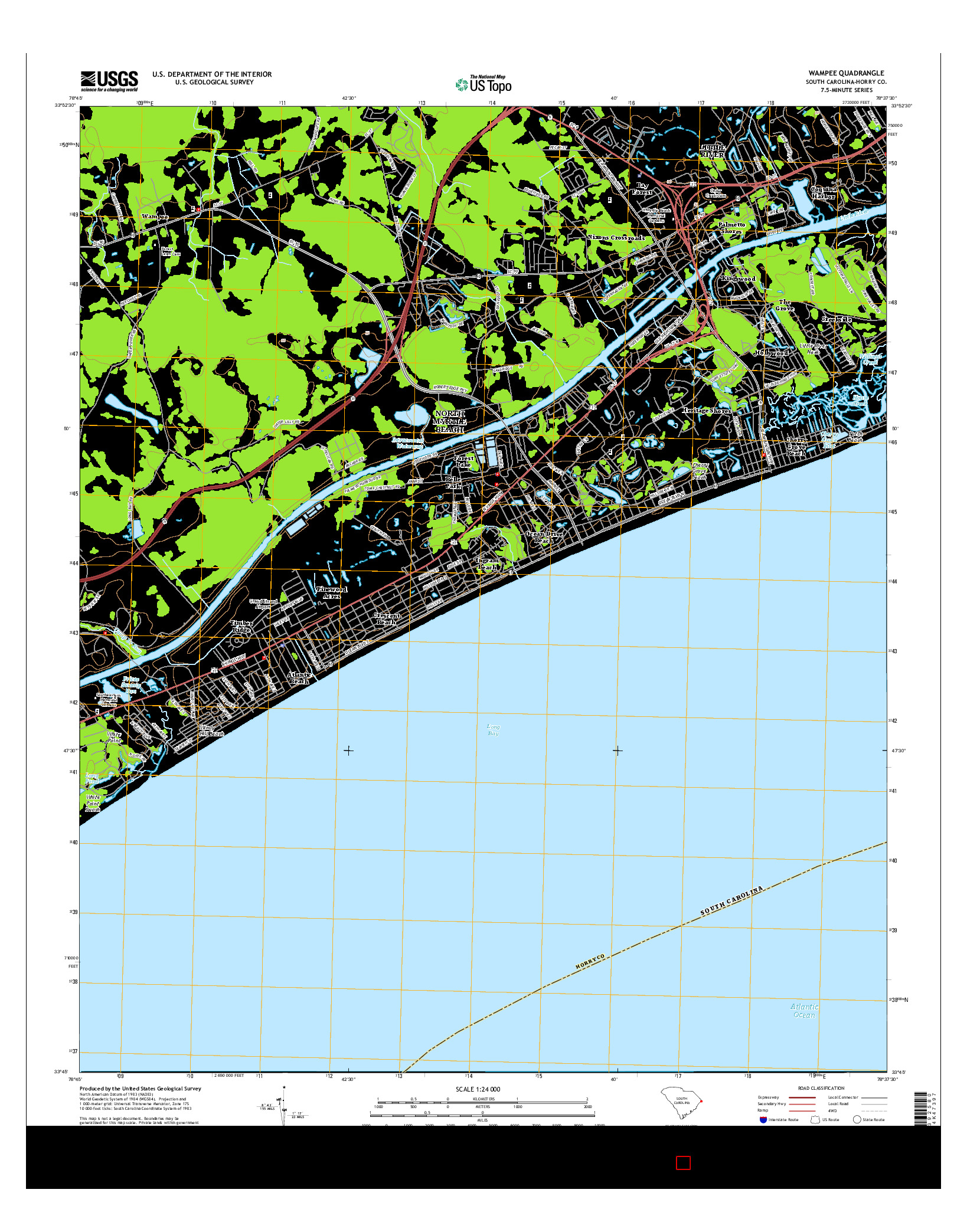 USGS US TOPO 7.5-MINUTE MAP FOR WAMPEE, SC 2014
